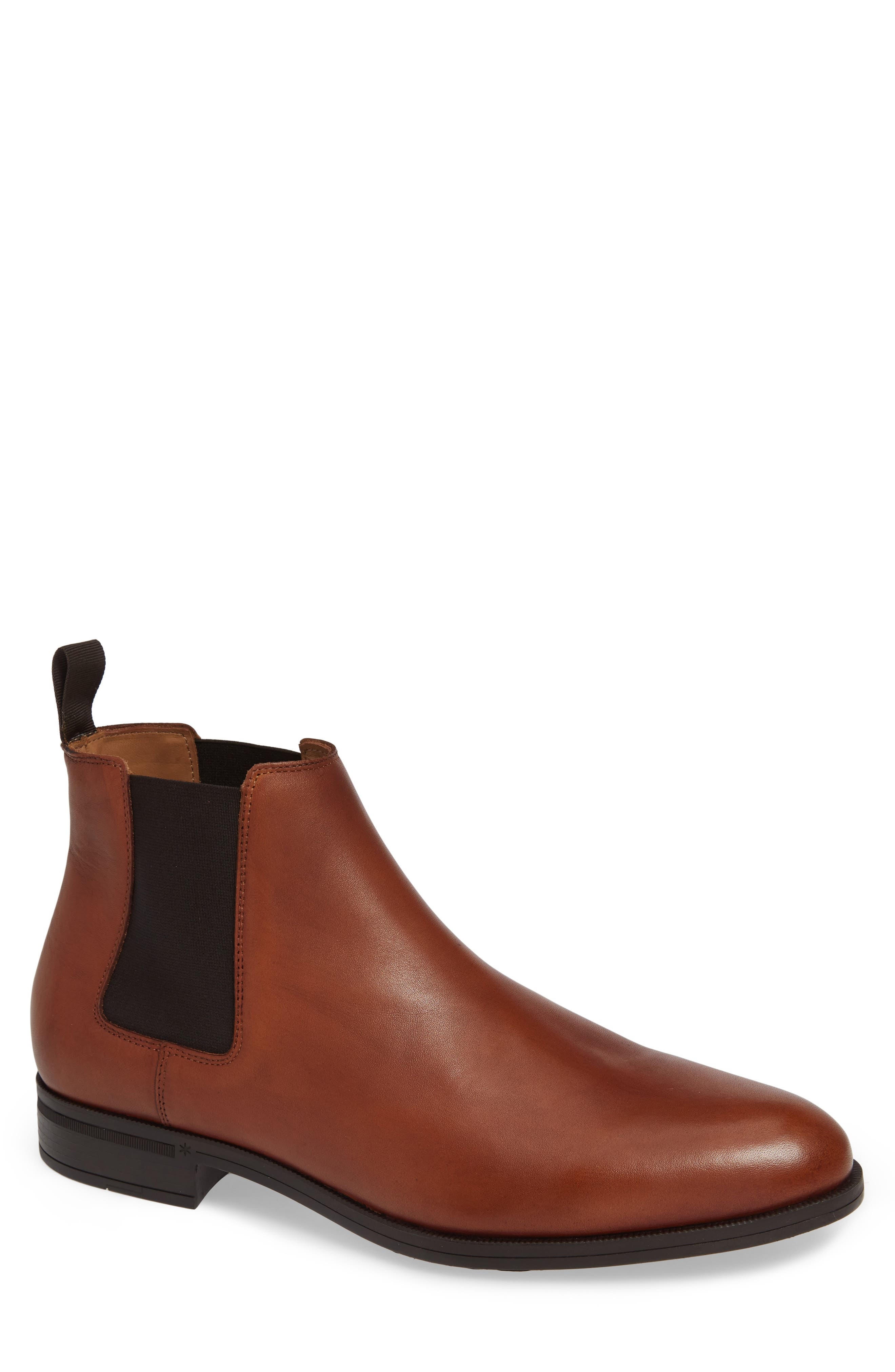 VINCE CAMUTO, Ivo Mid Chelsea Boot, Main thumbnail 1, color, COGNAC LEATHER