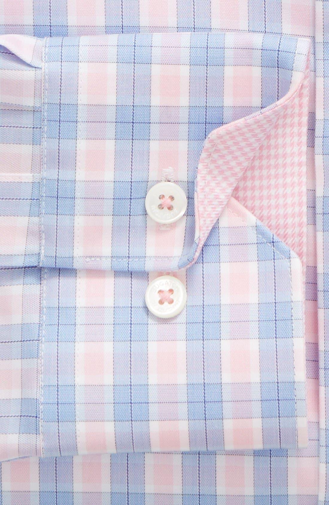 BUGATCHI, Trim Fit Plaid Dress Shirt, Main thumbnail 1, color, 682