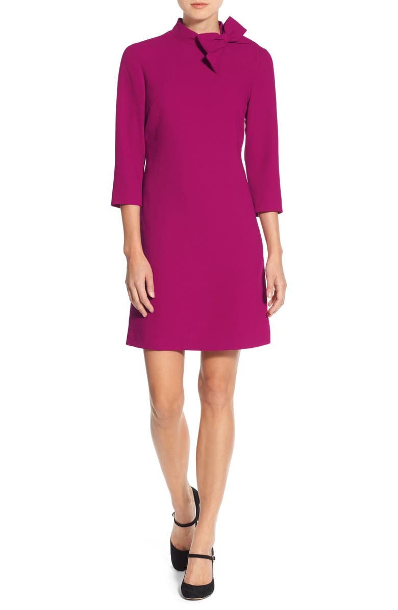 ELIZA J Bow Neck Crepe Shift Dress, Main, color, PINK
