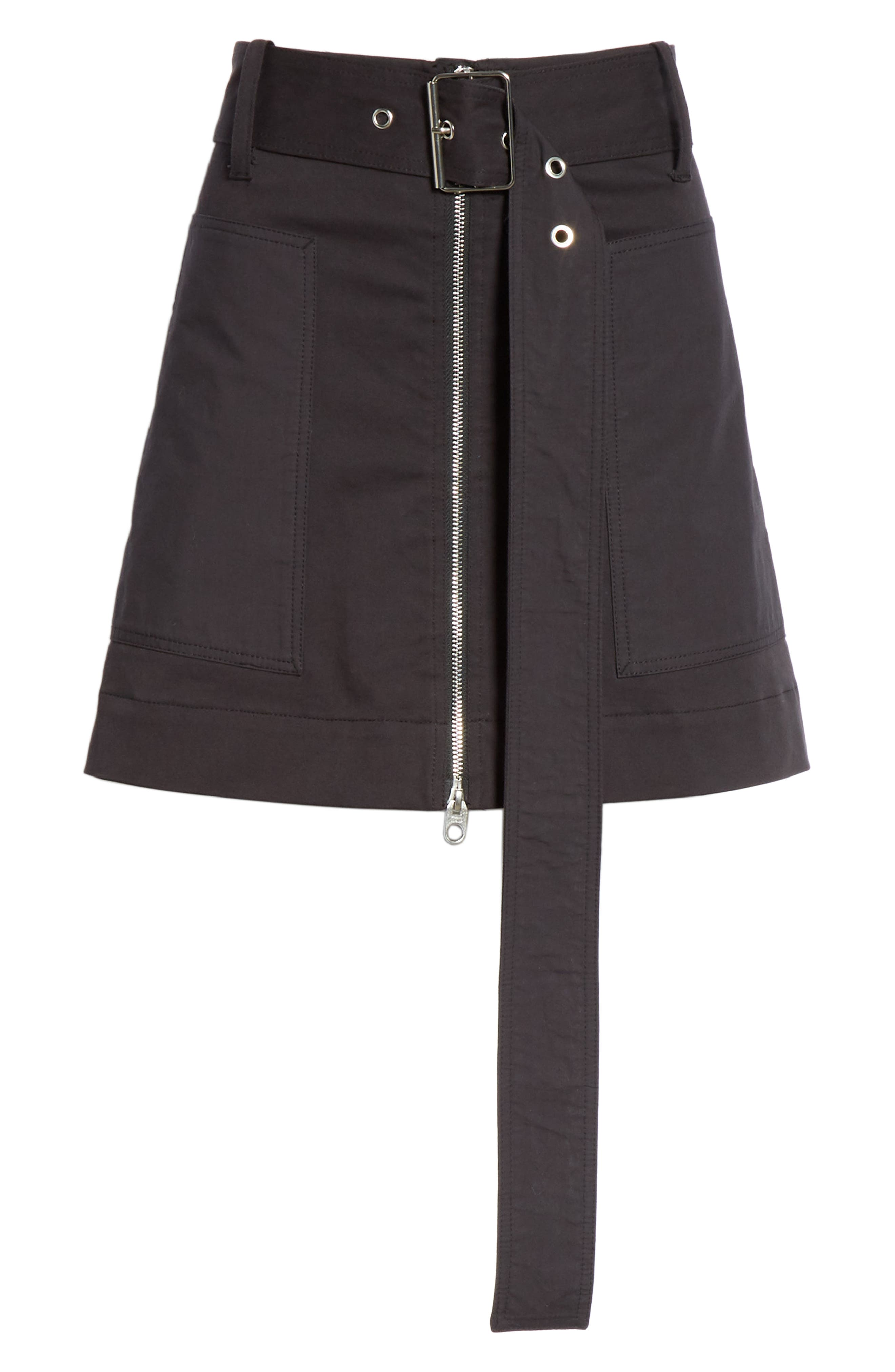 PROENZA SCHOULER, PSWL Belted Utility Skirt, Alternate thumbnail 6, color, BLACK