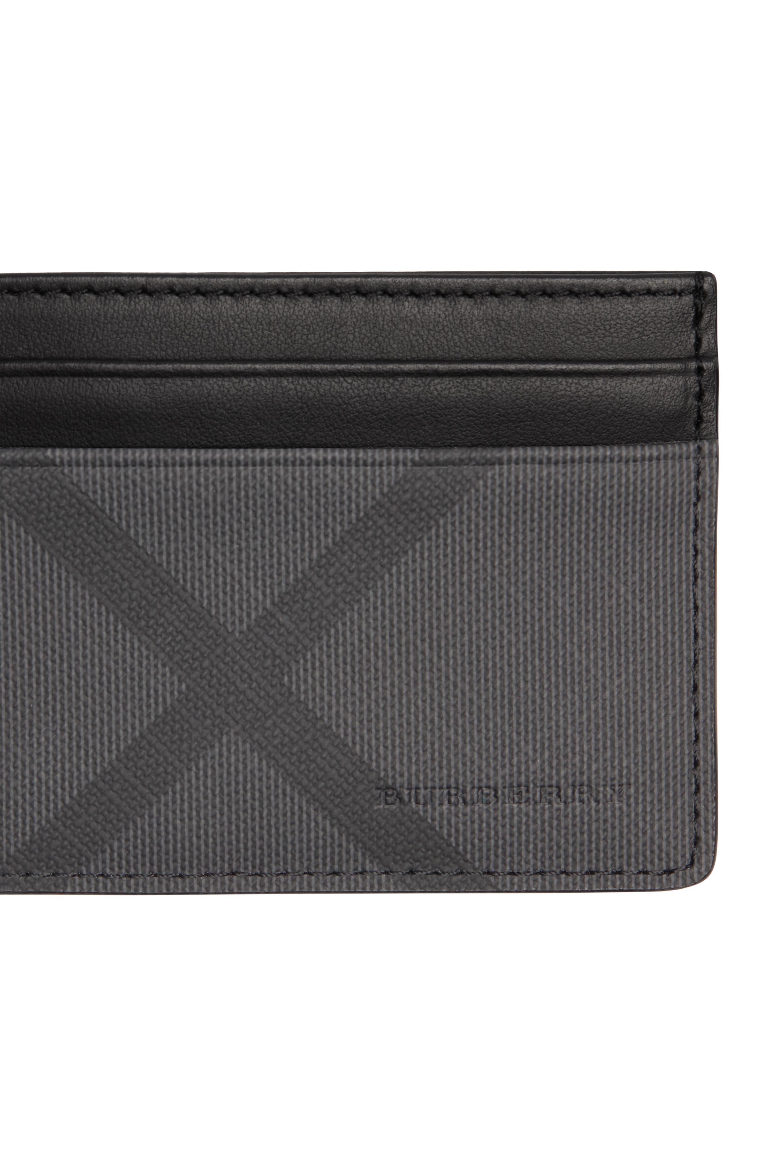 BURBERRY, Sandon Card Case, Alternate thumbnail 4, color, CHARCOAL/ BLACK