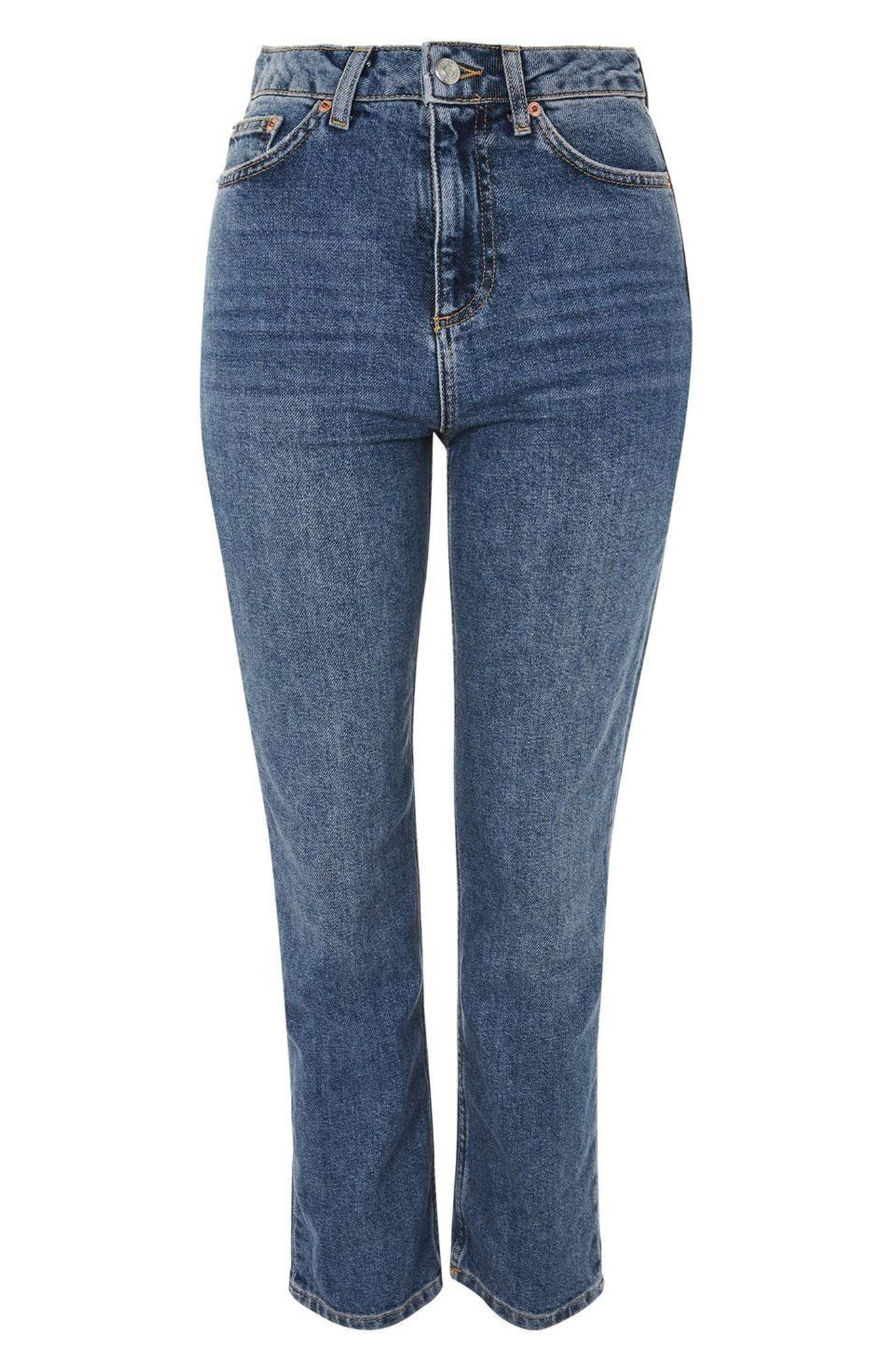 TOPSHOP, Straight Leg Jeans, Alternate thumbnail 6, color, MID DENIM