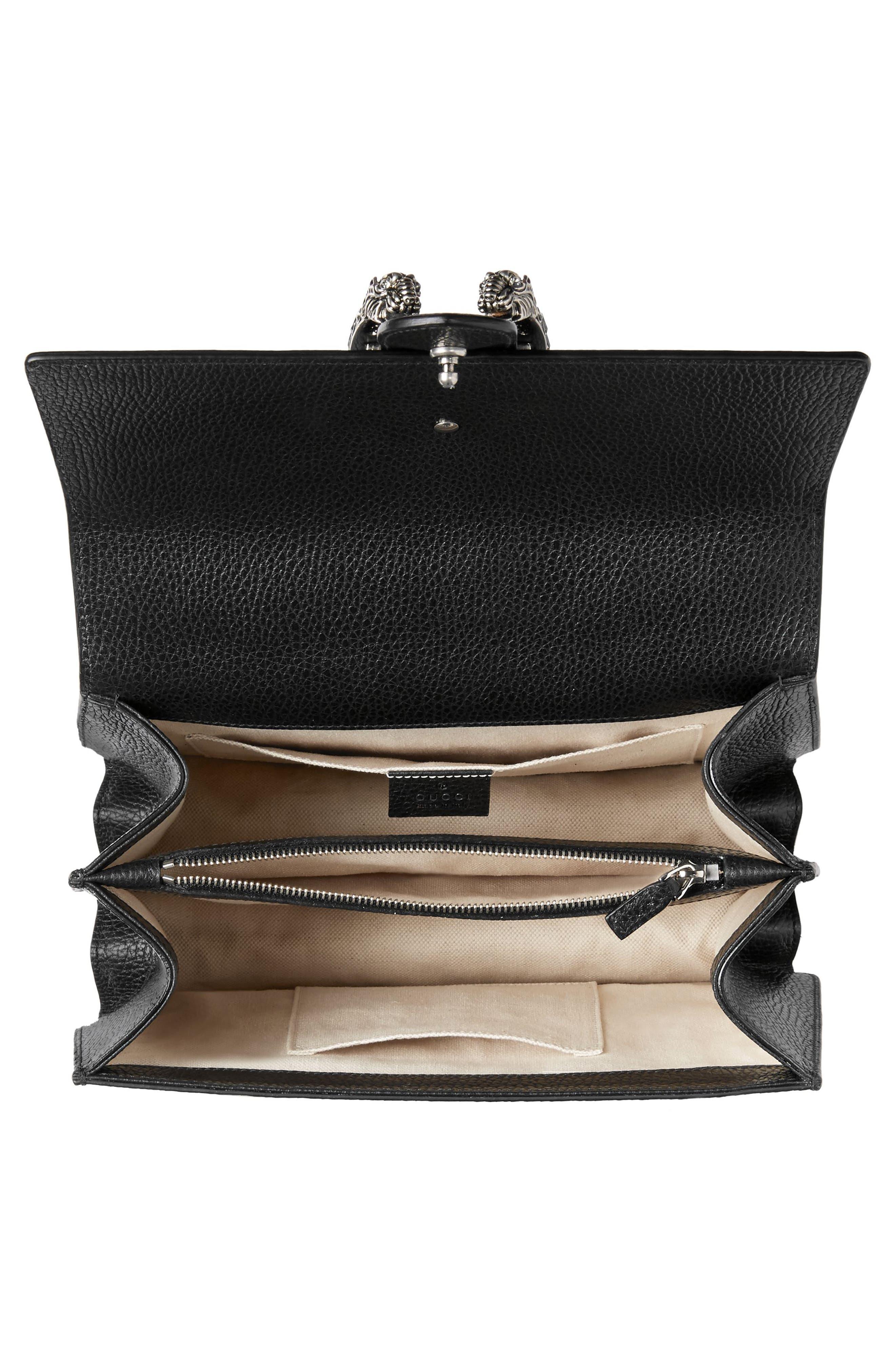 GUCCI, Medium Dionysus Leather Top Handle Satchel, Alternate thumbnail 4, color, NERO/ VRV/ BLACK DIAMOND