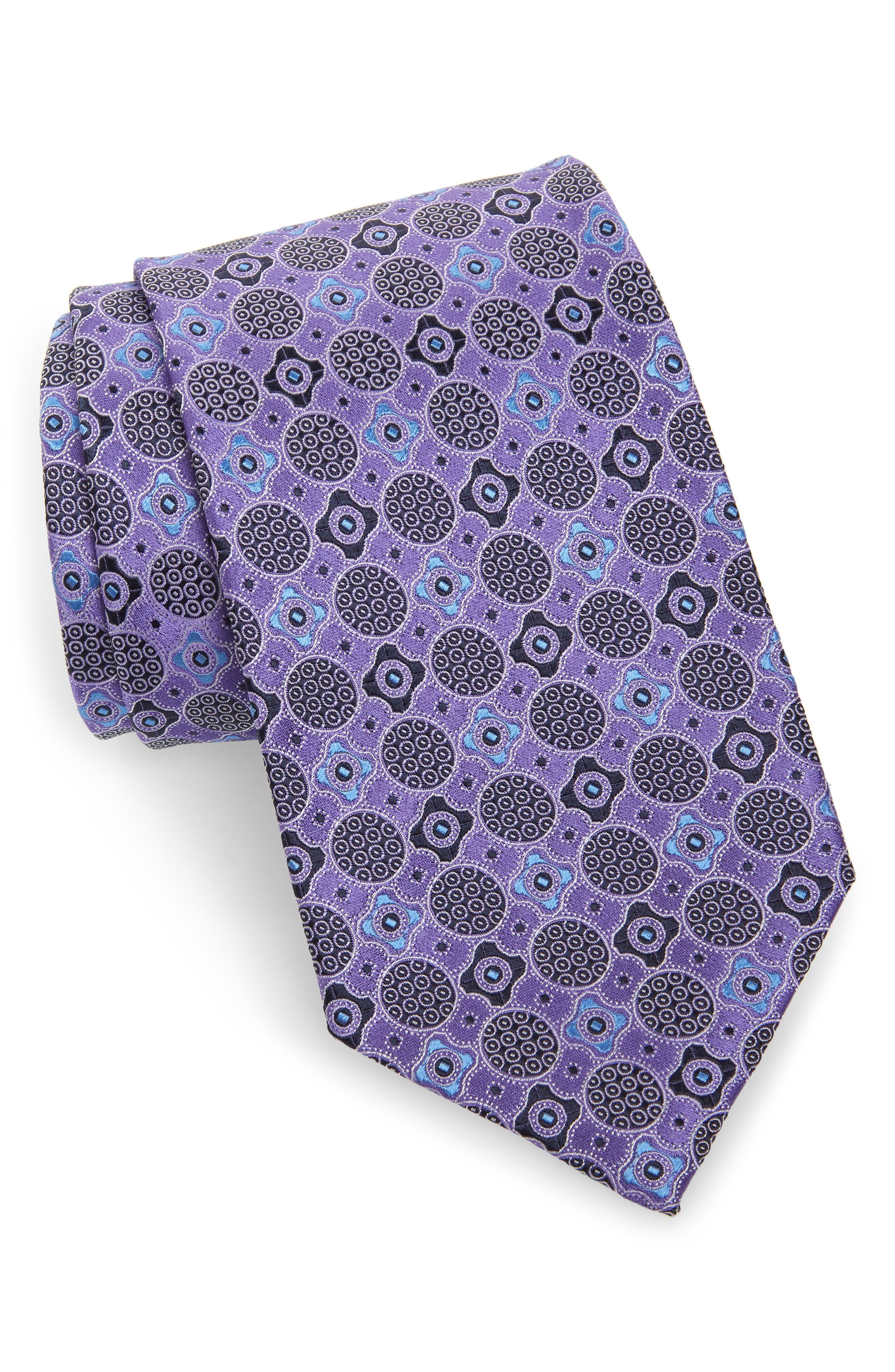 ERMENEGILDO ZEGNA Microfloral Medallion Silk Tie, Main, color, PURPLE