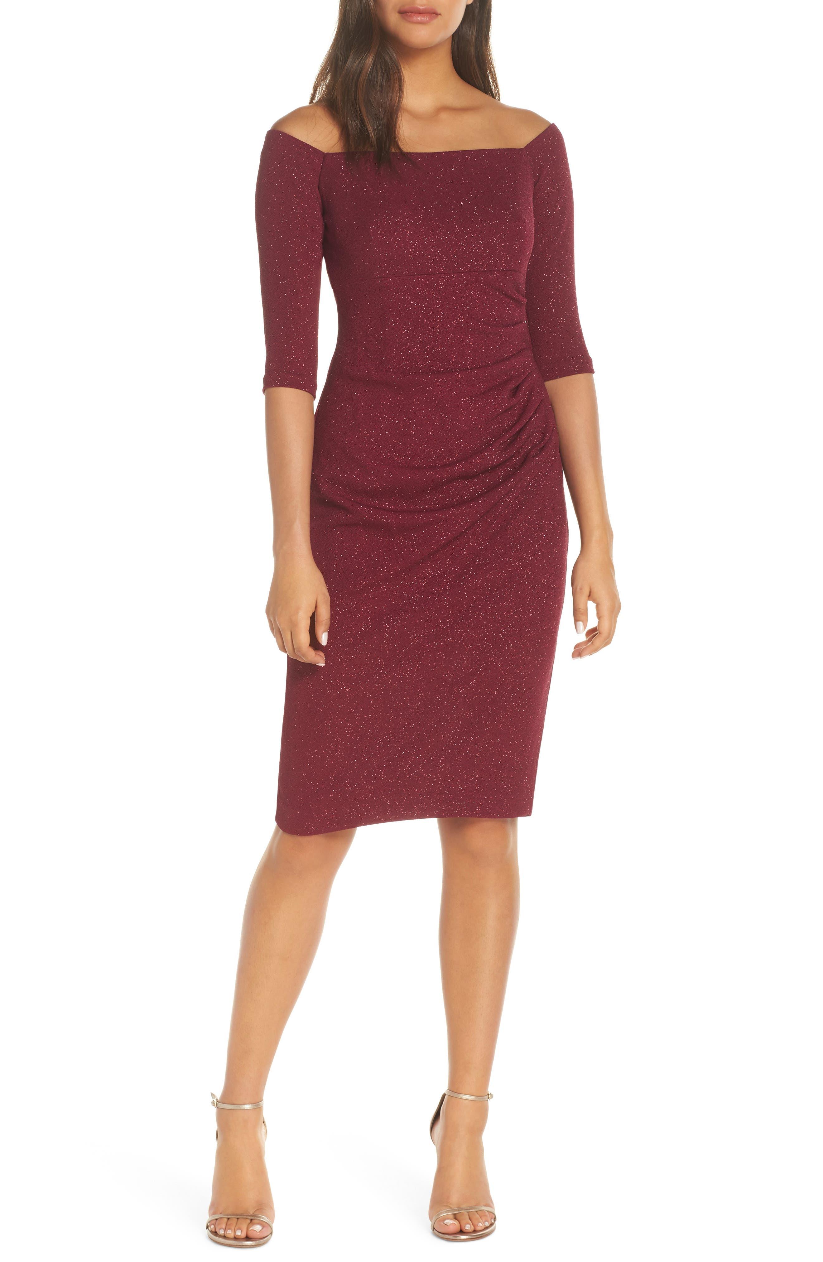 ELIZA J, Off the Shoulder Sheath Dress, Main thumbnail 1, color, WINE