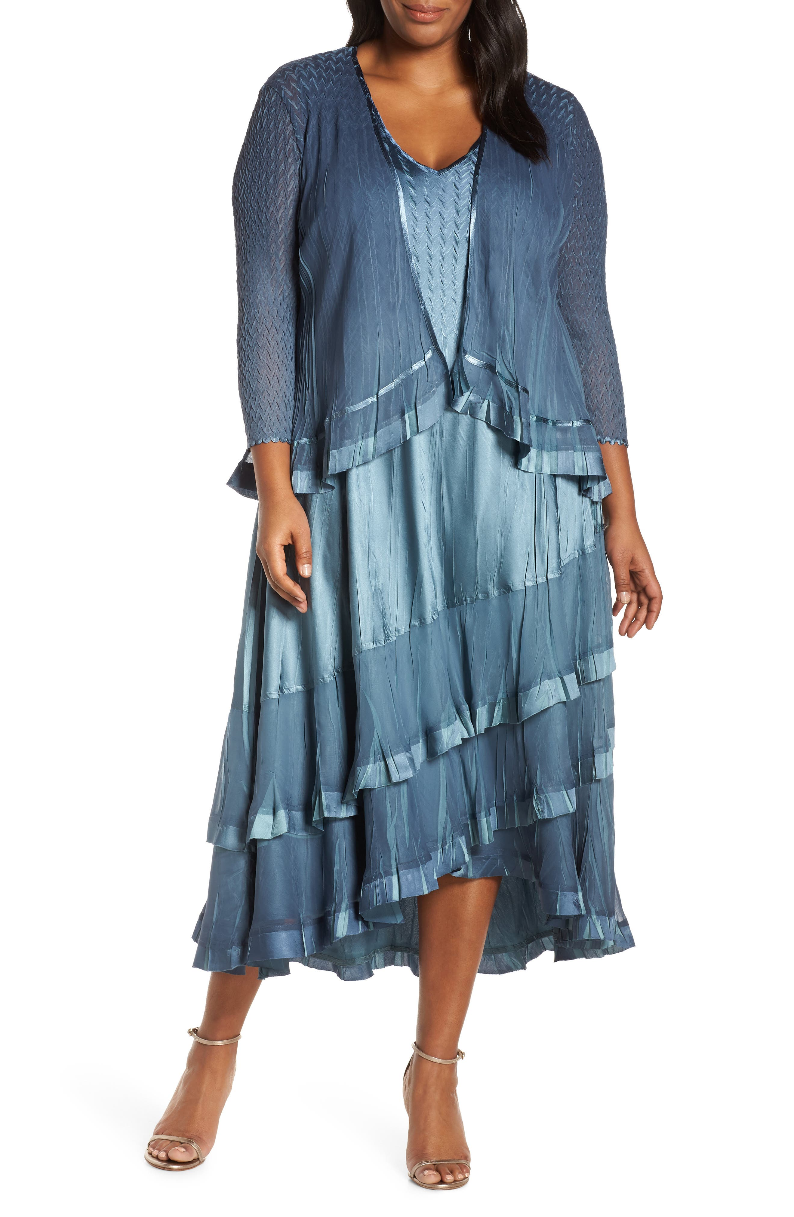 KOMAROV, Charmeuse Cocktail Dress with Jacket, Main thumbnail 1, color, SILVER BLUE OMBRE