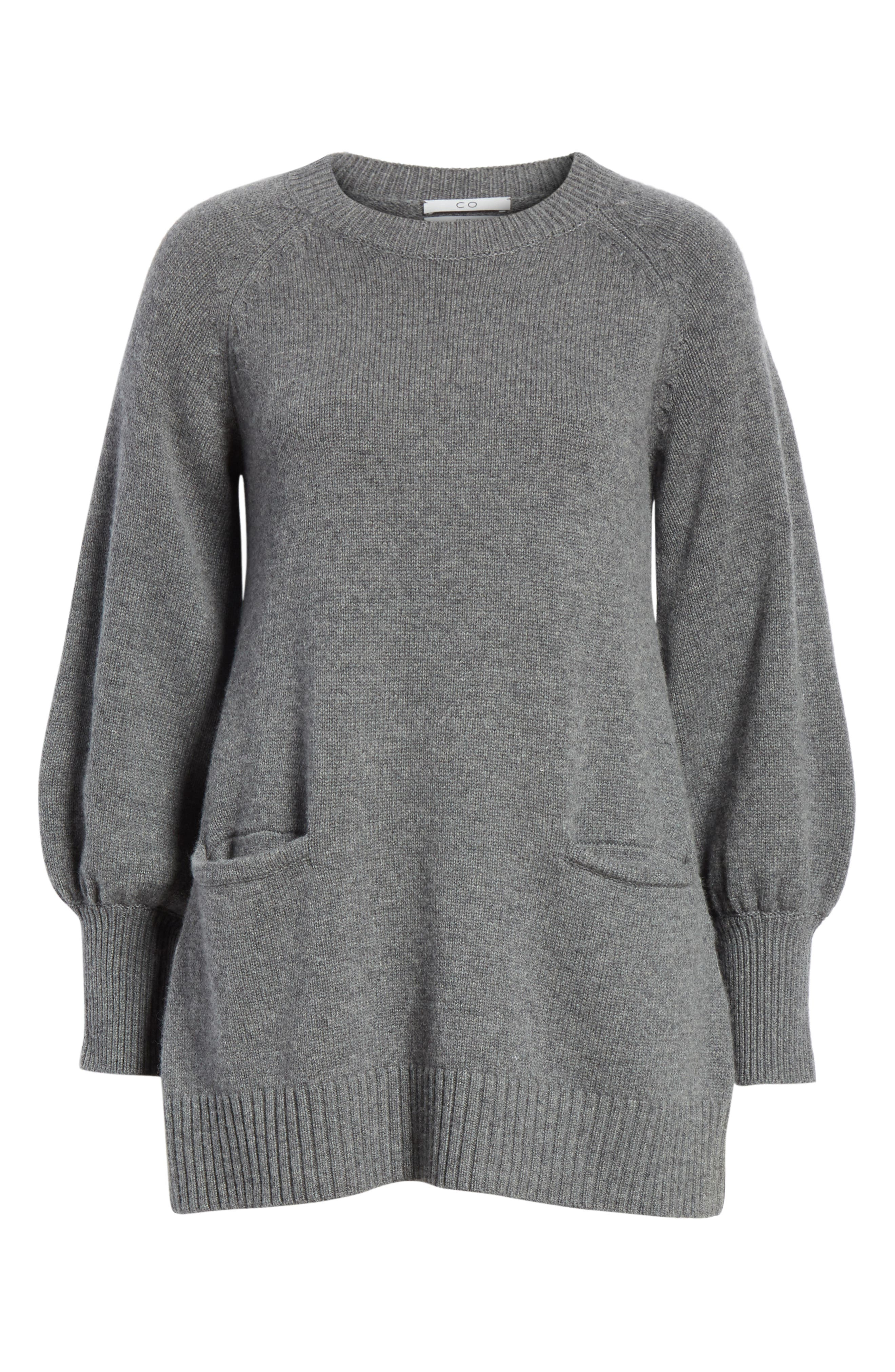 CO, Wool & Cashmere Tunic Sweater, Alternate thumbnail 6, color, GREY