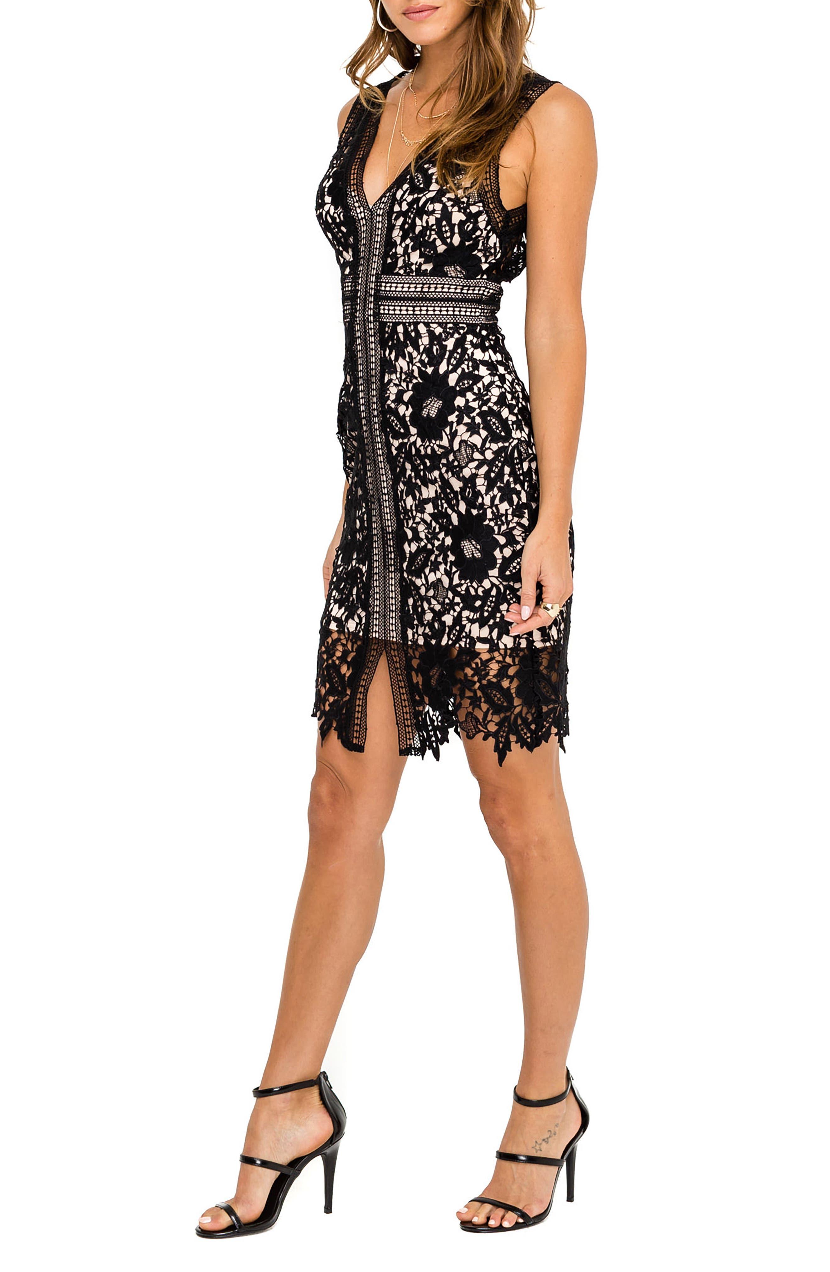 ASTR THE LABEL, Lace Sheath Dress, Alternate thumbnail 3, color, 001