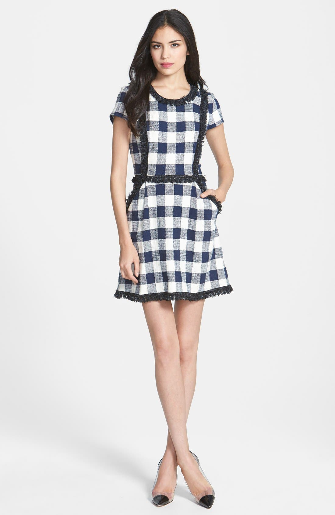 MILLY, Woven A-Line Dress, Main thumbnail 1, color, 420