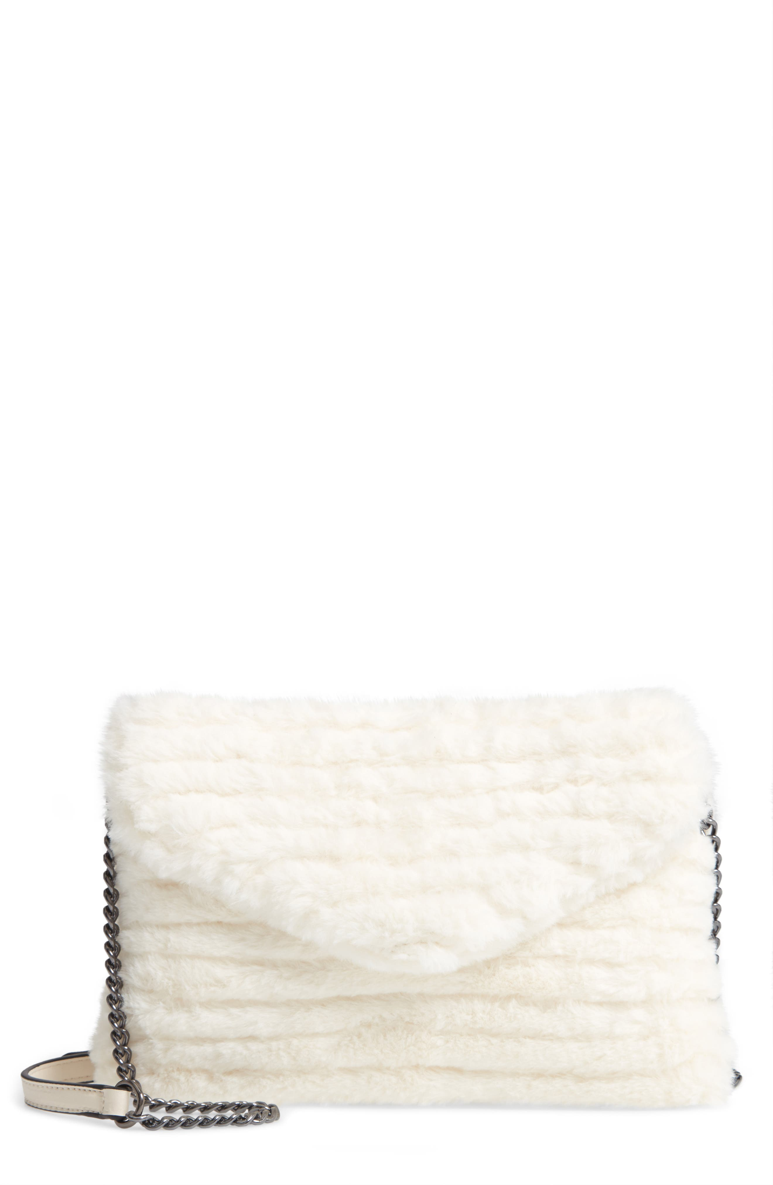 VIOLET RAY NEW YORK, Quilted Faux Fur Crossbody Bag, Main thumbnail 1, color, 100