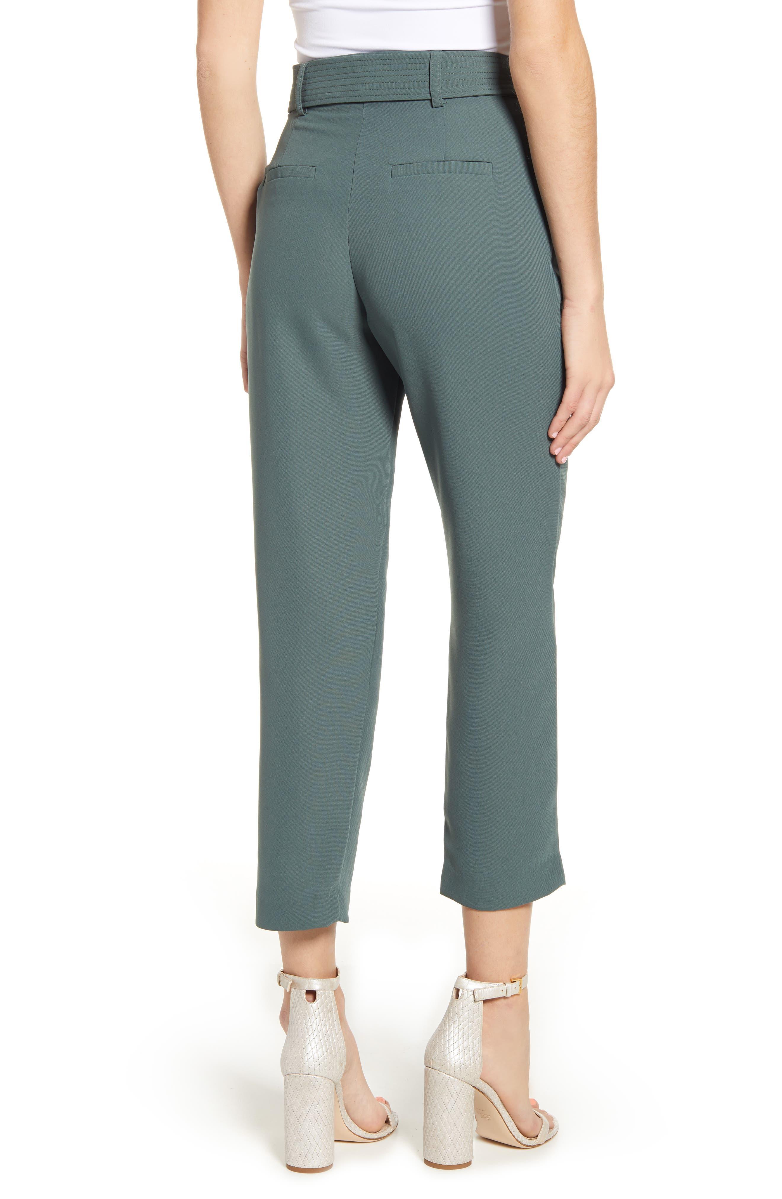 CHELSEA28, Tie Waist Ankle Pants, Alternate thumbnail 2, color, GREY URBAN
