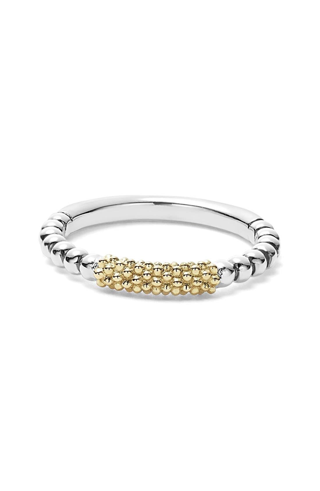 LAGOS, 'Caviar Icon' Stacking Ring, Alternate thumbnail 5, color, SILVER/ GOLD