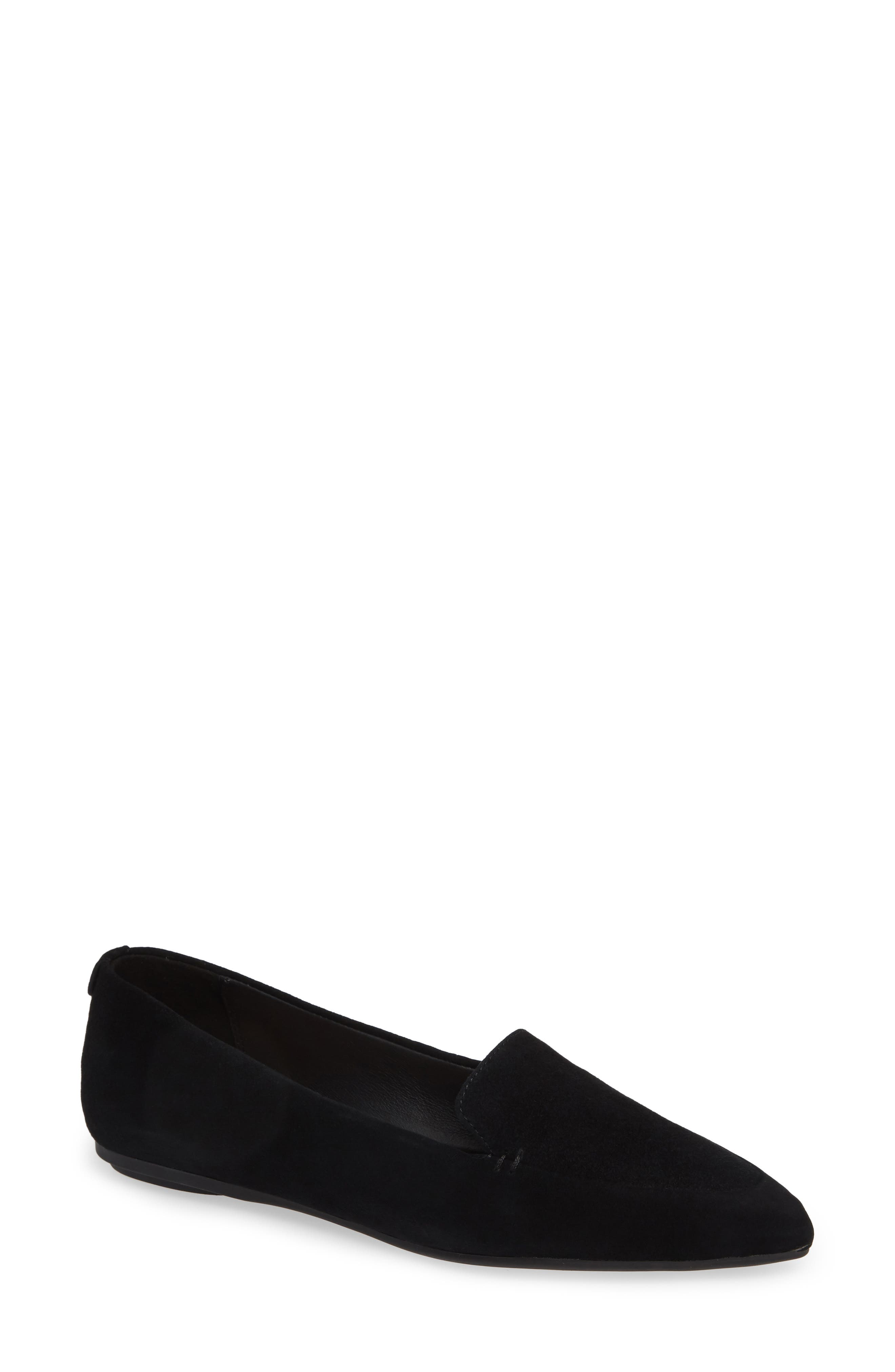 TARYN ROSE Faye Pointy Toe Loafer, Main, color, BLACK/ BLACK SUEDE