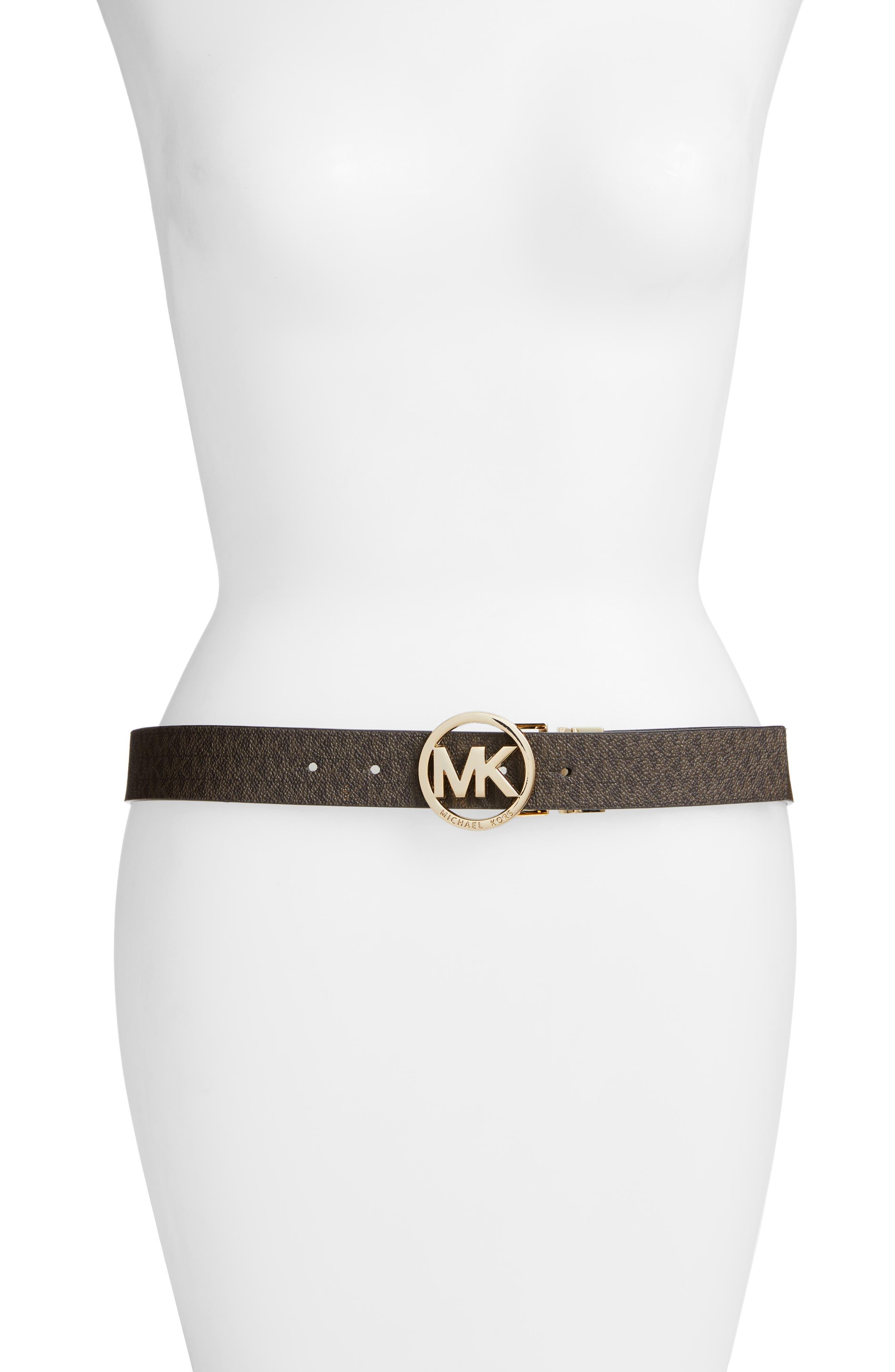 MICHAEL MICHAEL KORS, Logo Reversible Leather Belt, Main thumbnail 1, color, CHOCOLATE/ BLACK