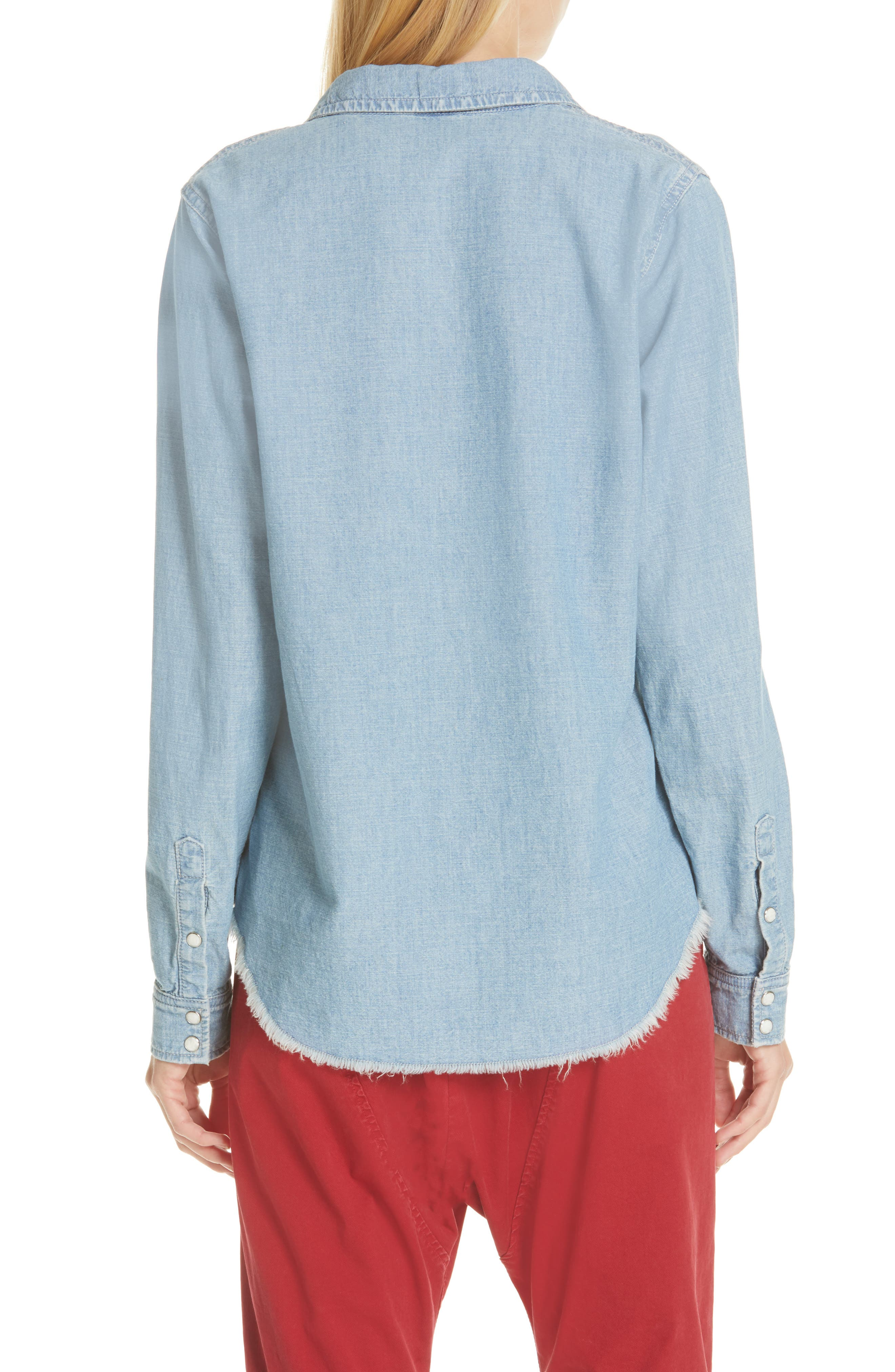 NILI LOTAN, Mallory Chambray Shirt, Alternate thumbnail 2, color, SKY BLUE