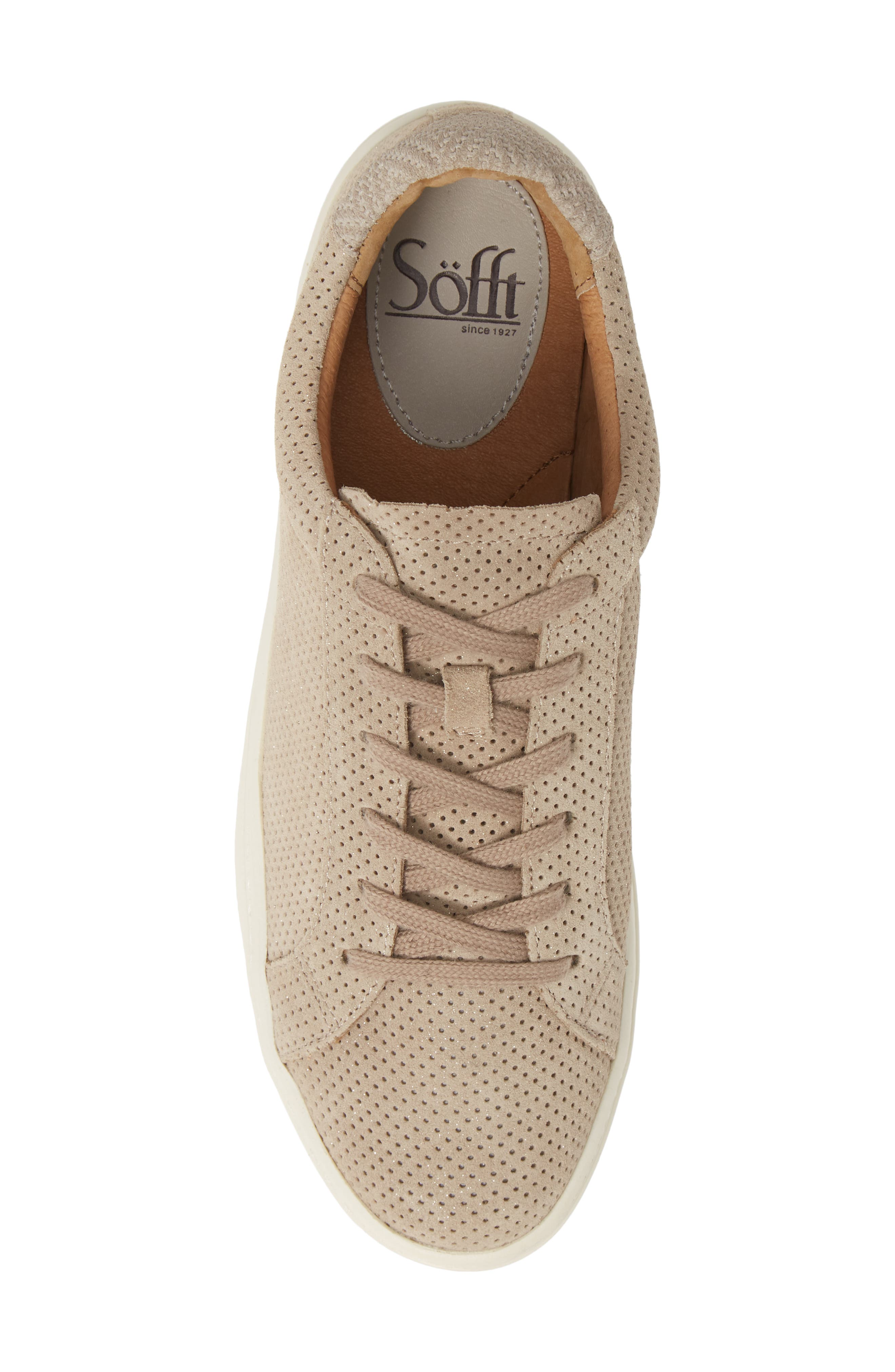 SÖFFT, Somers Perforated Sneaker, Alternate thumbnail 5, color, MOONSTONE GREY SUEDE