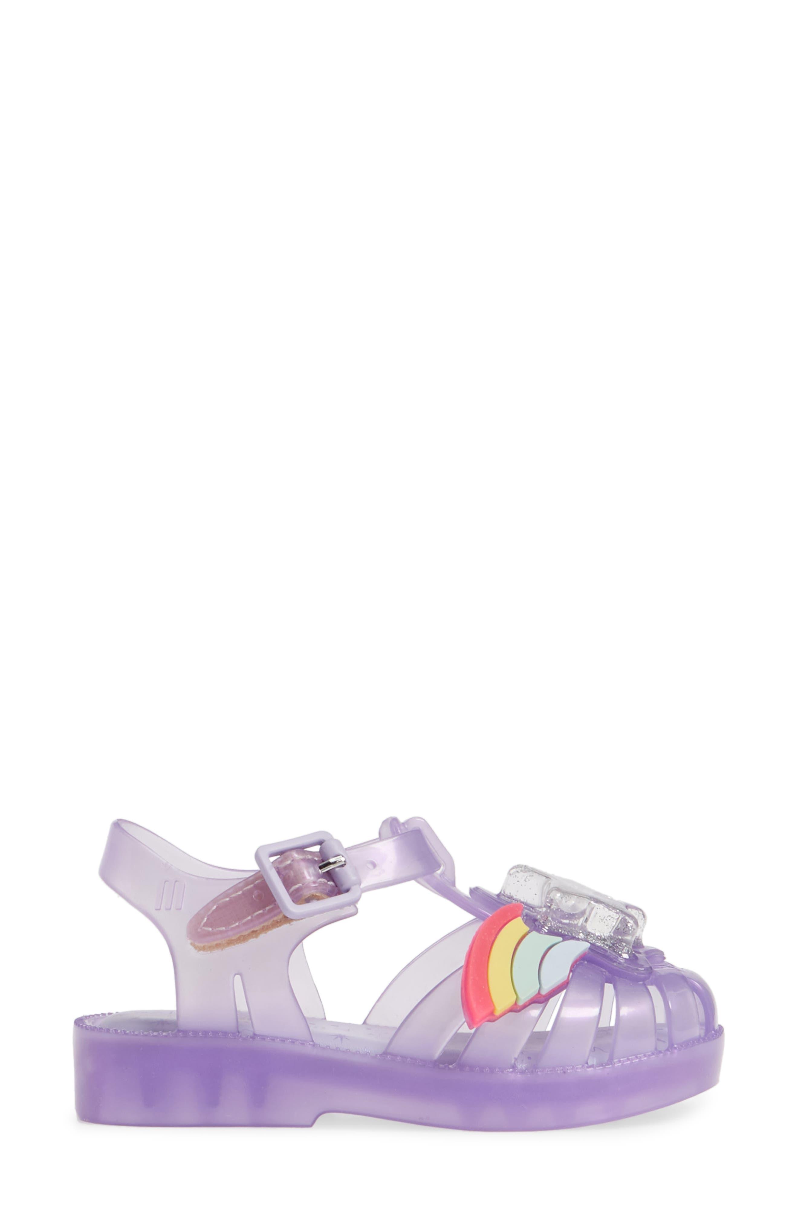 MINI MELISSA, Possession II Glitter Sandal, Alternate thumbnail 3, color, PURPLE