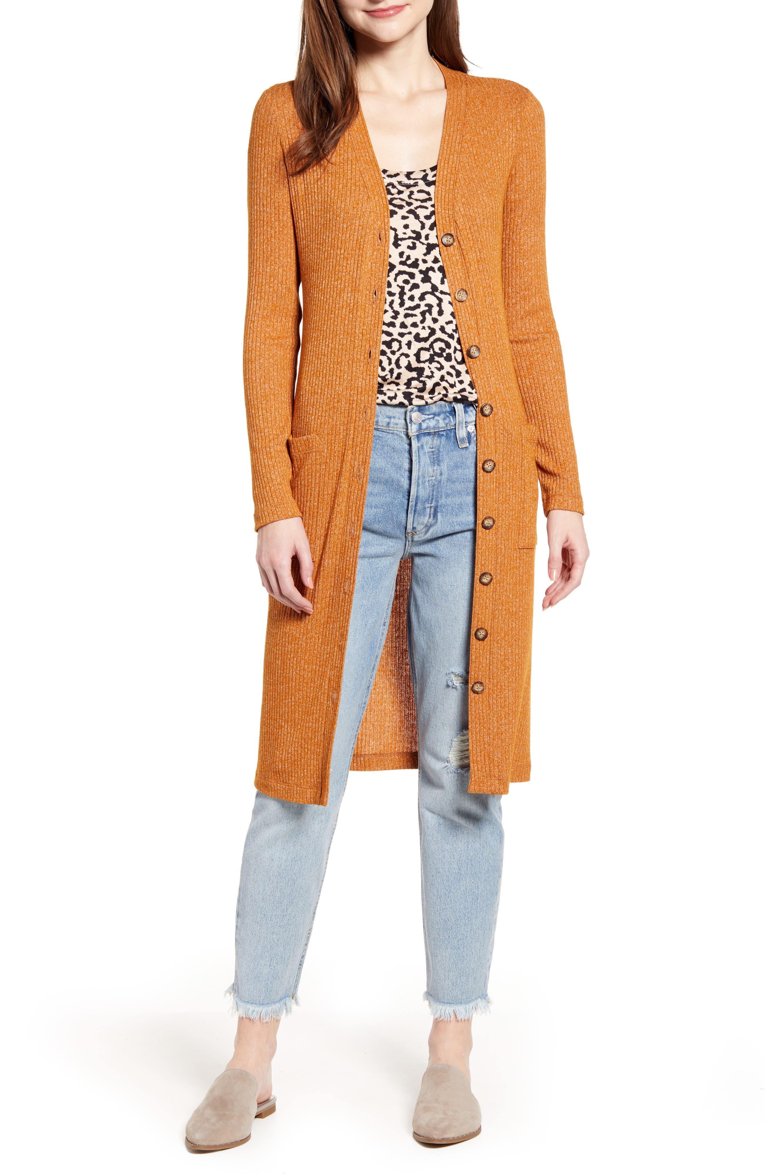 SOCIALITE Long Rib Knit Cardigan, Main, color, TOBACCO