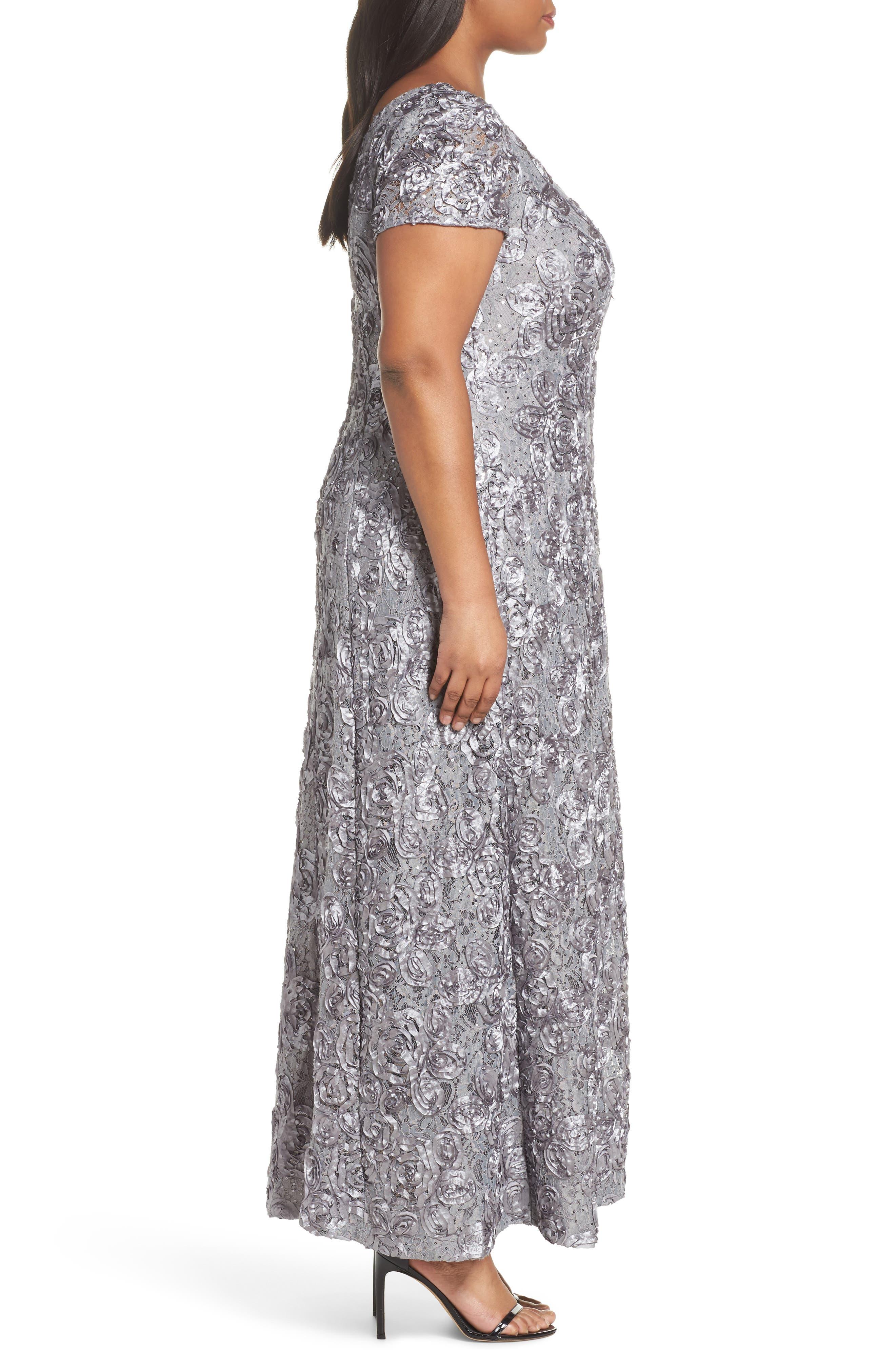 ALEX EVENINGS, Rosette Lace Short Sleeve A-Line Gown, Alternate thumbnail 4, color, DOVE