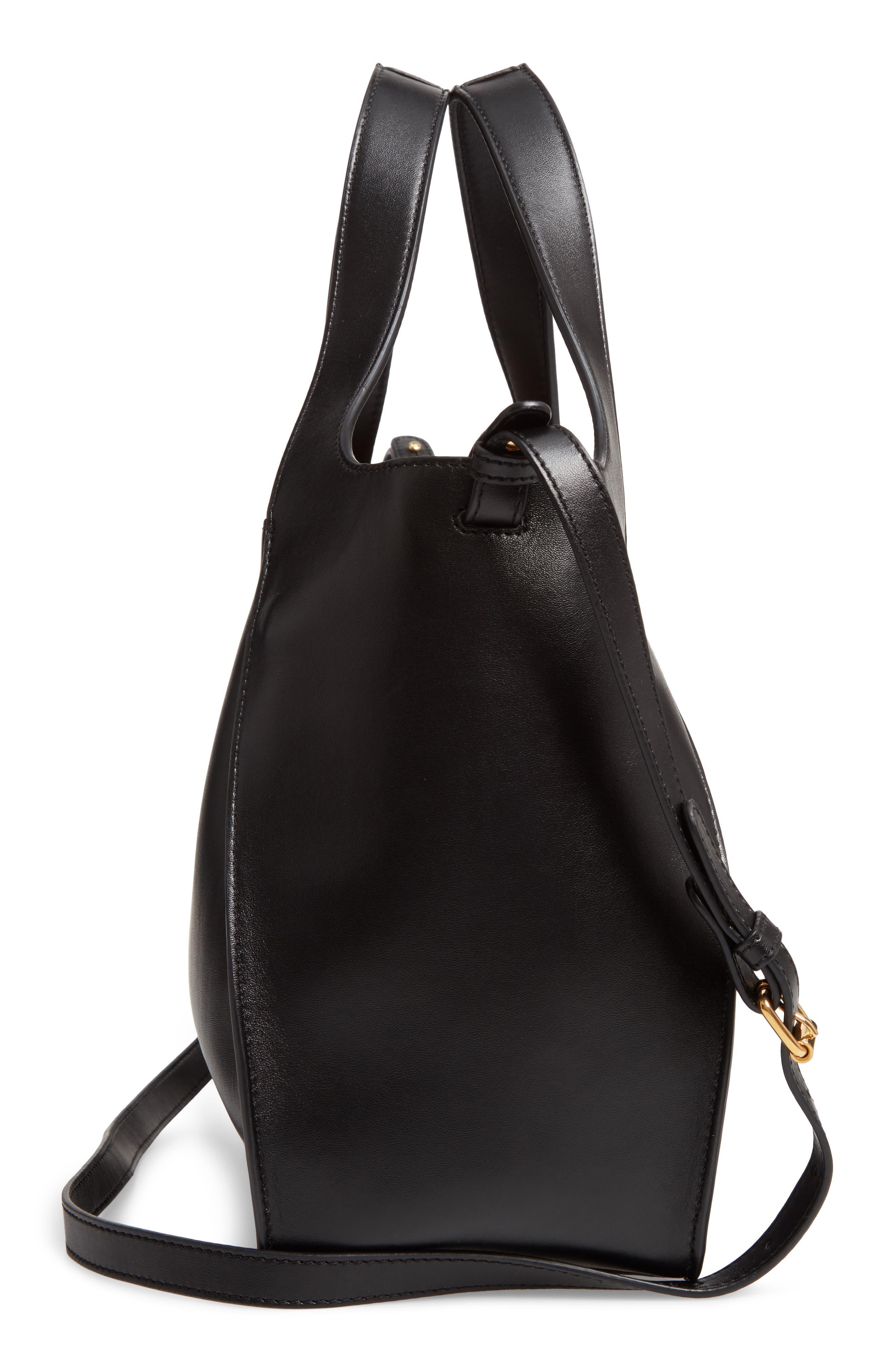 STELLA MCCARTNEY, Perforated Logo Faux Leather Satchel, Alternate thumbnail 5, color, BLACK