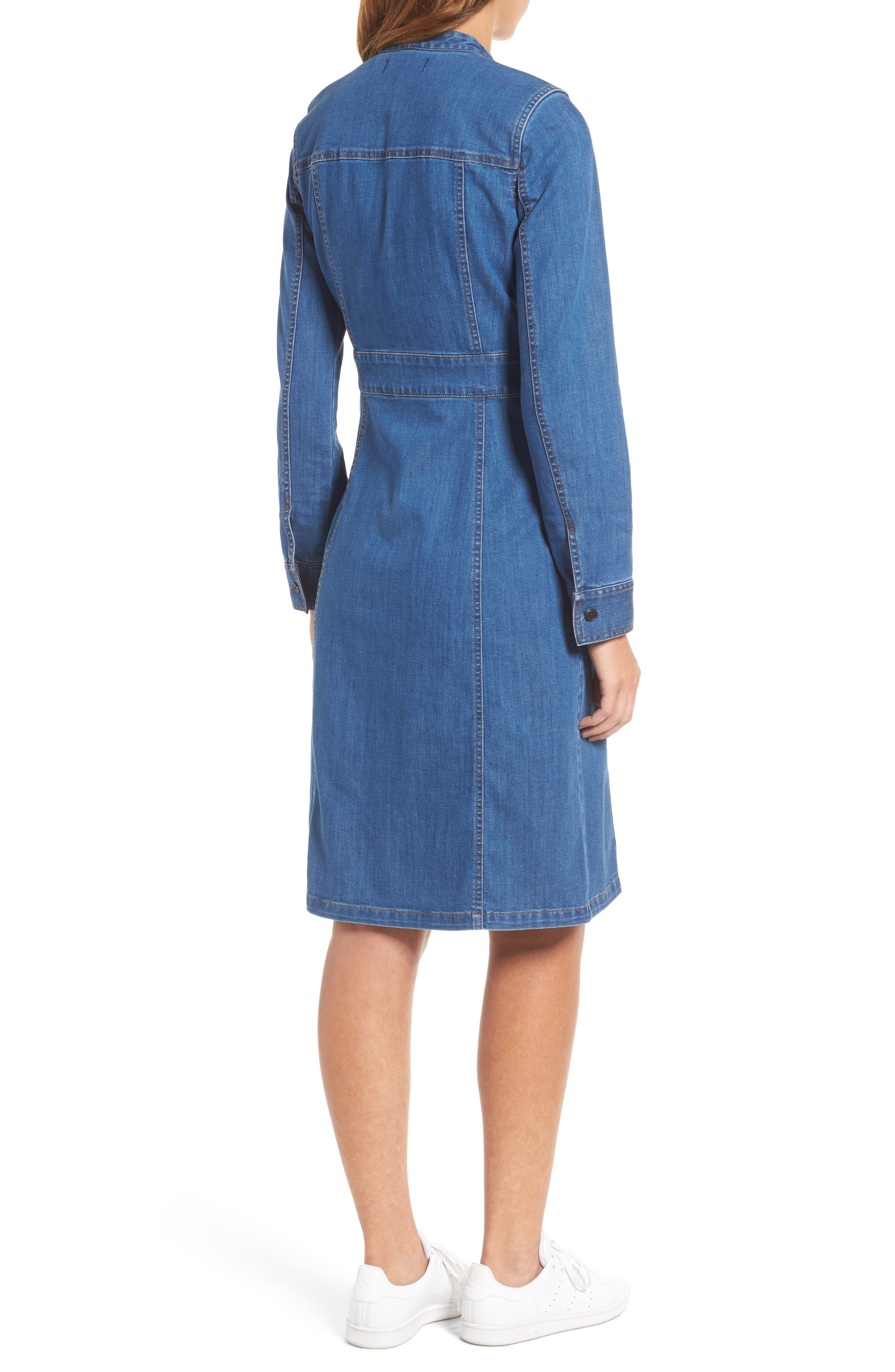 MADEWELL, Denim Tie Neck Shirtdress, Alternate thumbnail 2, color, 400