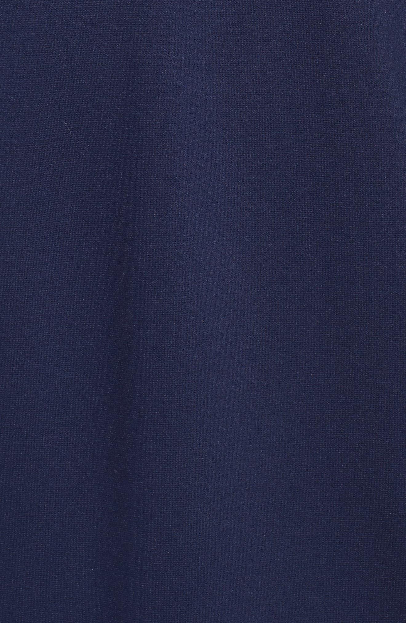 ELIZA J, Embroidered Ponte Sheath Dress, Alternate thumbnail 6, color, 410
