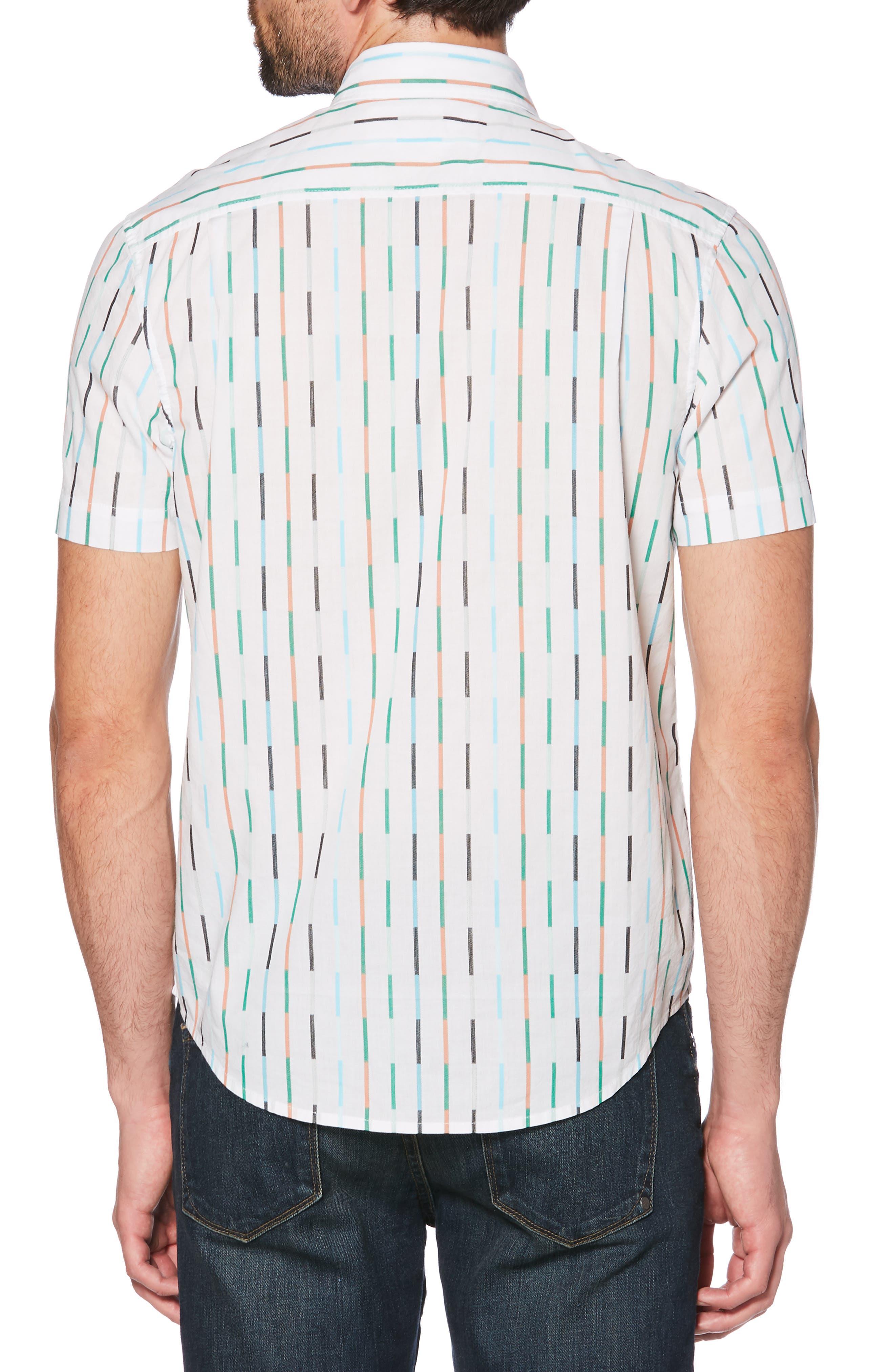 ORIGINAL PENGUIN, Vertical Broken Stripe Woven Shirt, Alternate thumbnail 2, color, BRIGHT WHITE