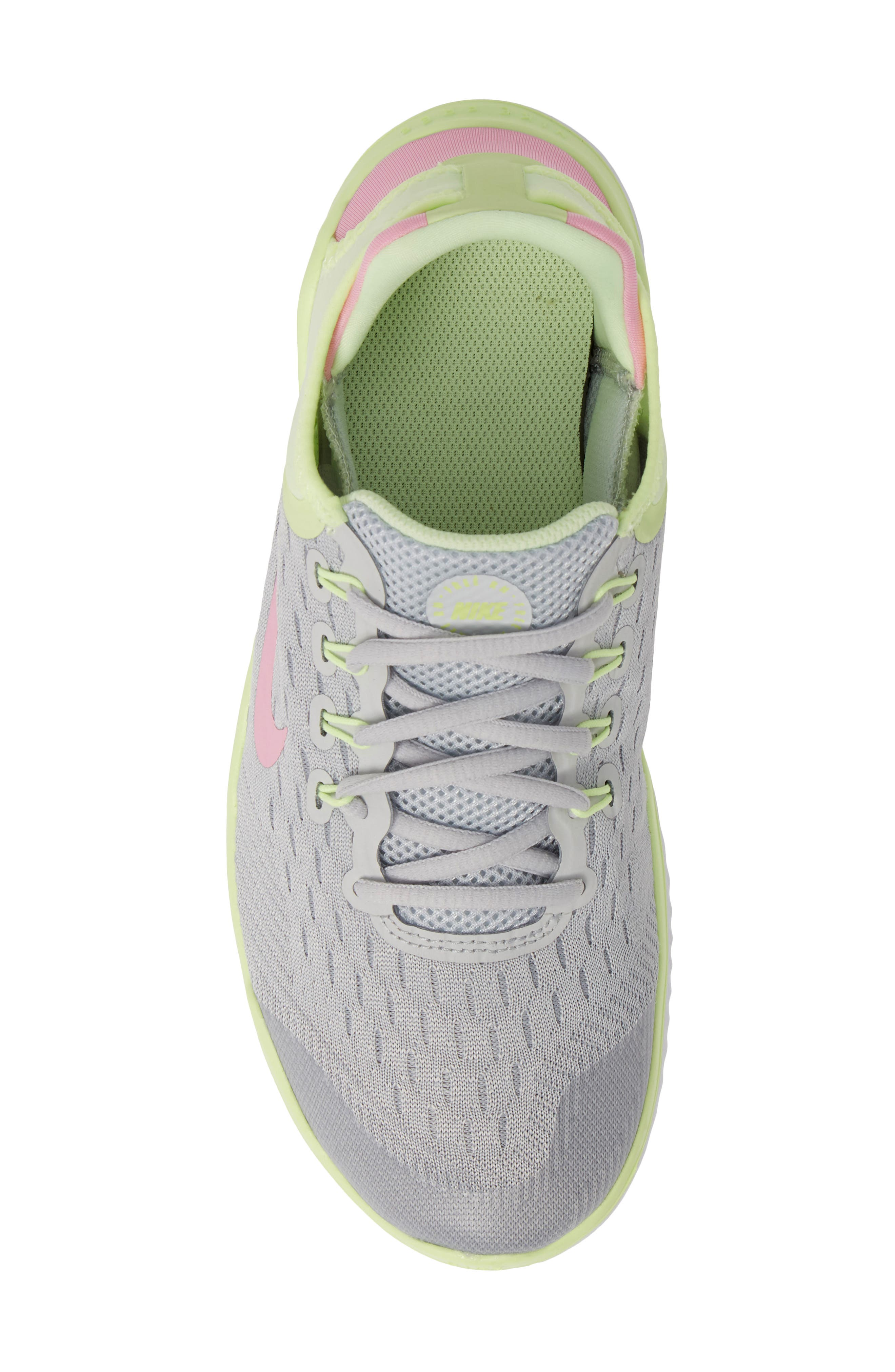 NIKE, Free RN 2018 Running Shoe, Alternate thumbnail 5, color, PURE PLATINUM/ PINK RISE-VOLT