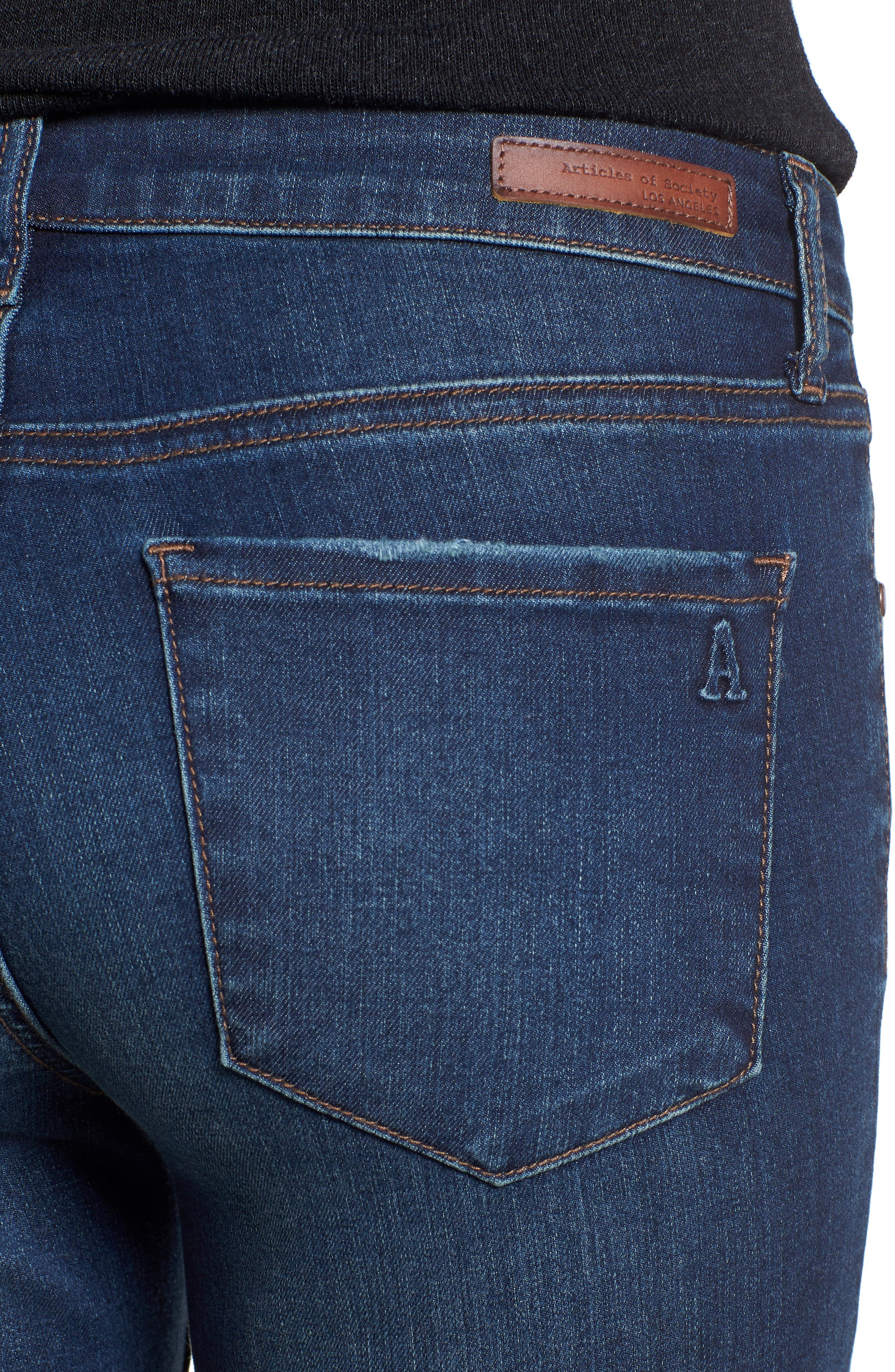 ARTICLES OF SOCIETY, Sarah Skinny Jeans, Alternate thumbnail 5, color, 400