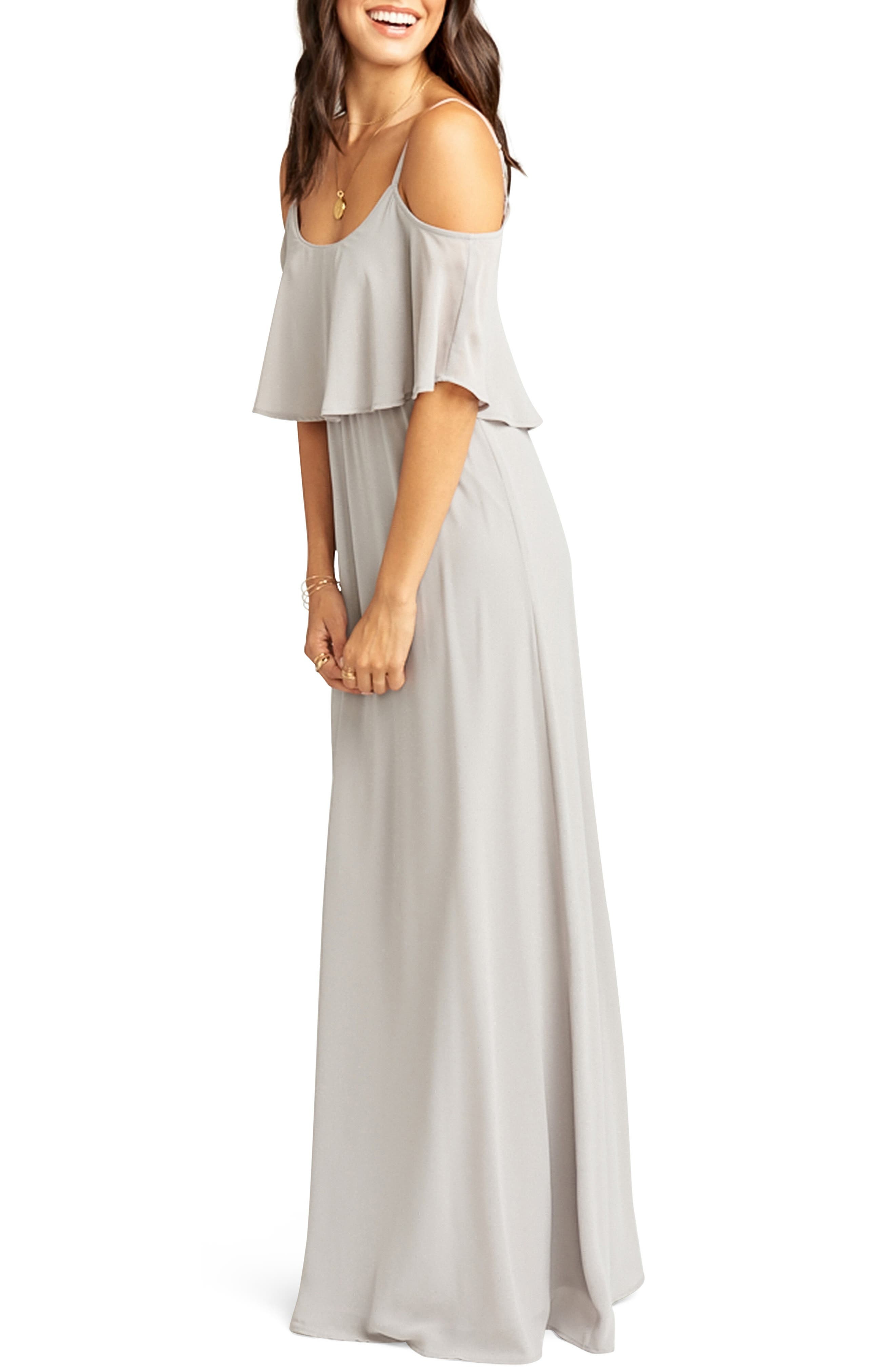 SHOW ME YOUR MUMU, Caitlin Cold Shoulder Chiffon Gown, Alternate thumbnail 4, color, DOVE GREY