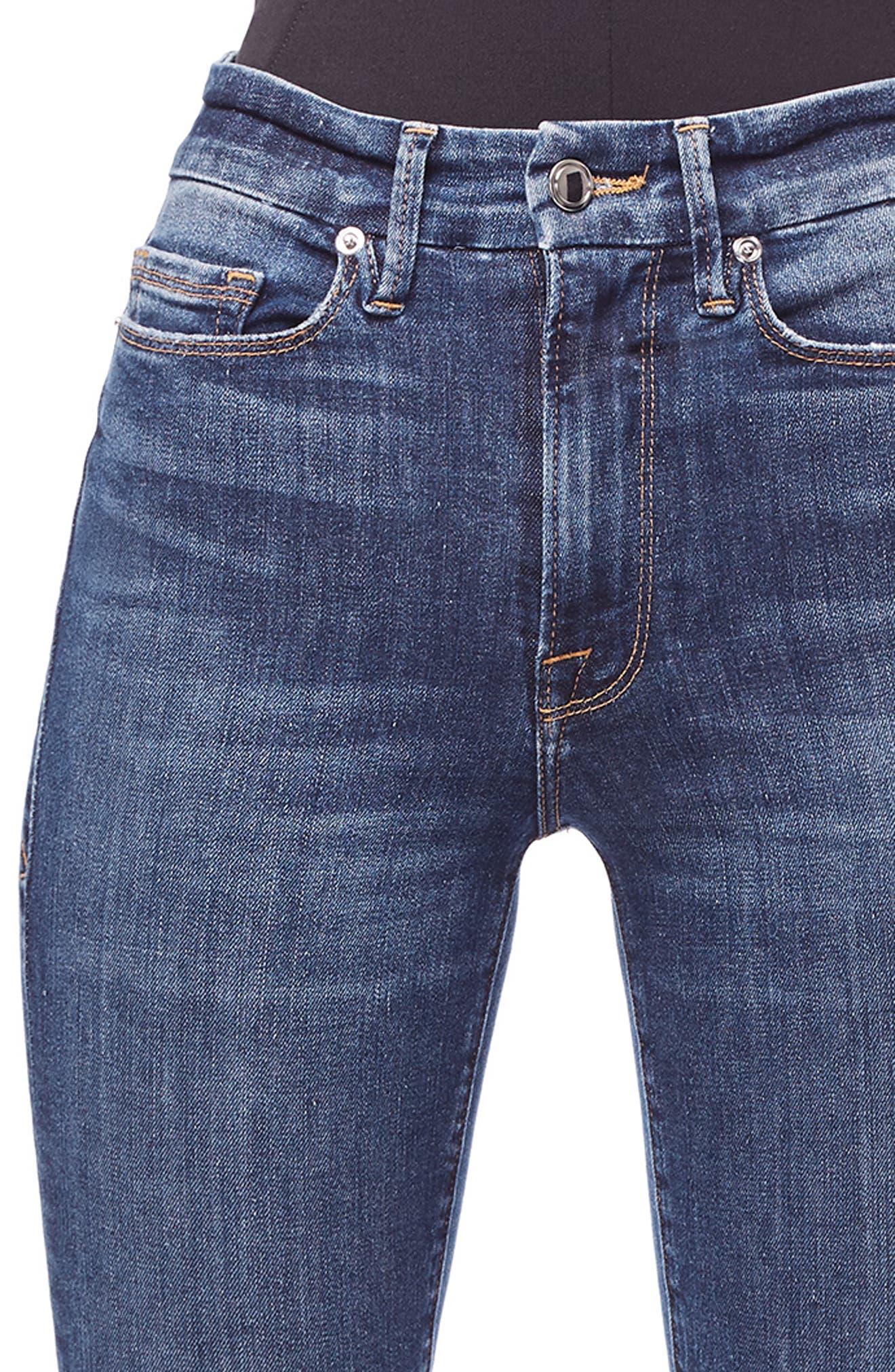 GOOD AMERICAN, Good Waist Ripped High Waist Skinny Jeans, Alternate thumbnail 6, color, BLUE 195