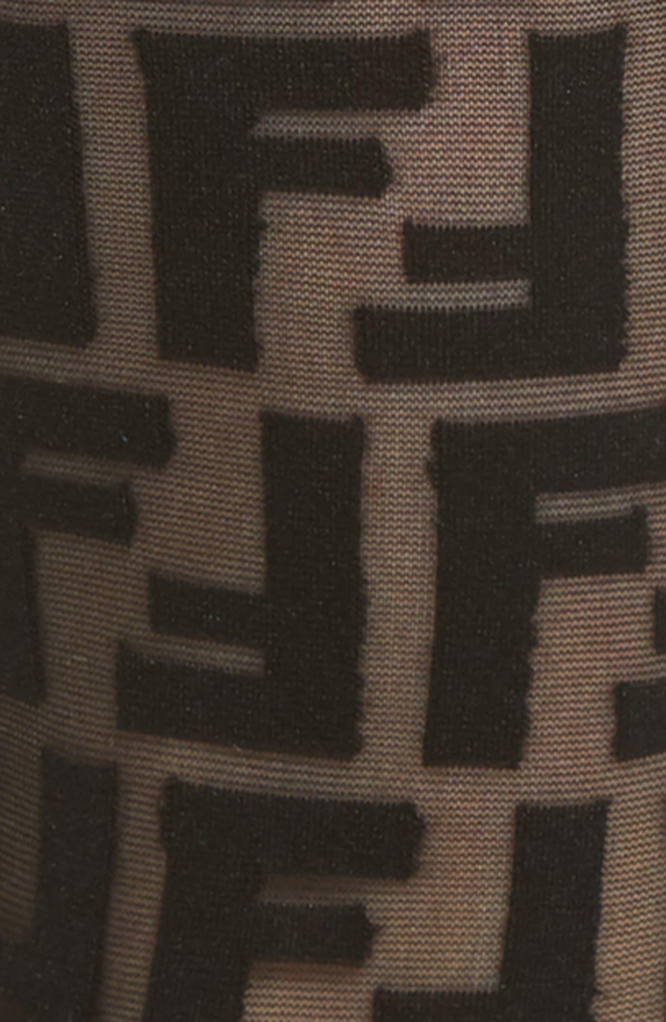 FENDI, Double F Logo Crew Socks, Alternate thumbnail 2, color, BLACK
