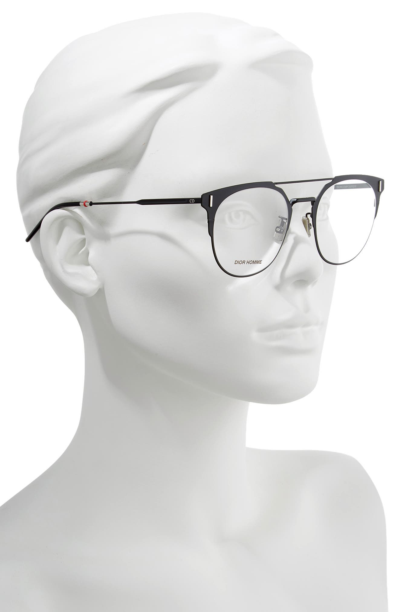 DIOR, 51mm Round Optical Glasses, Alternate thumbnail 2, color, 001
