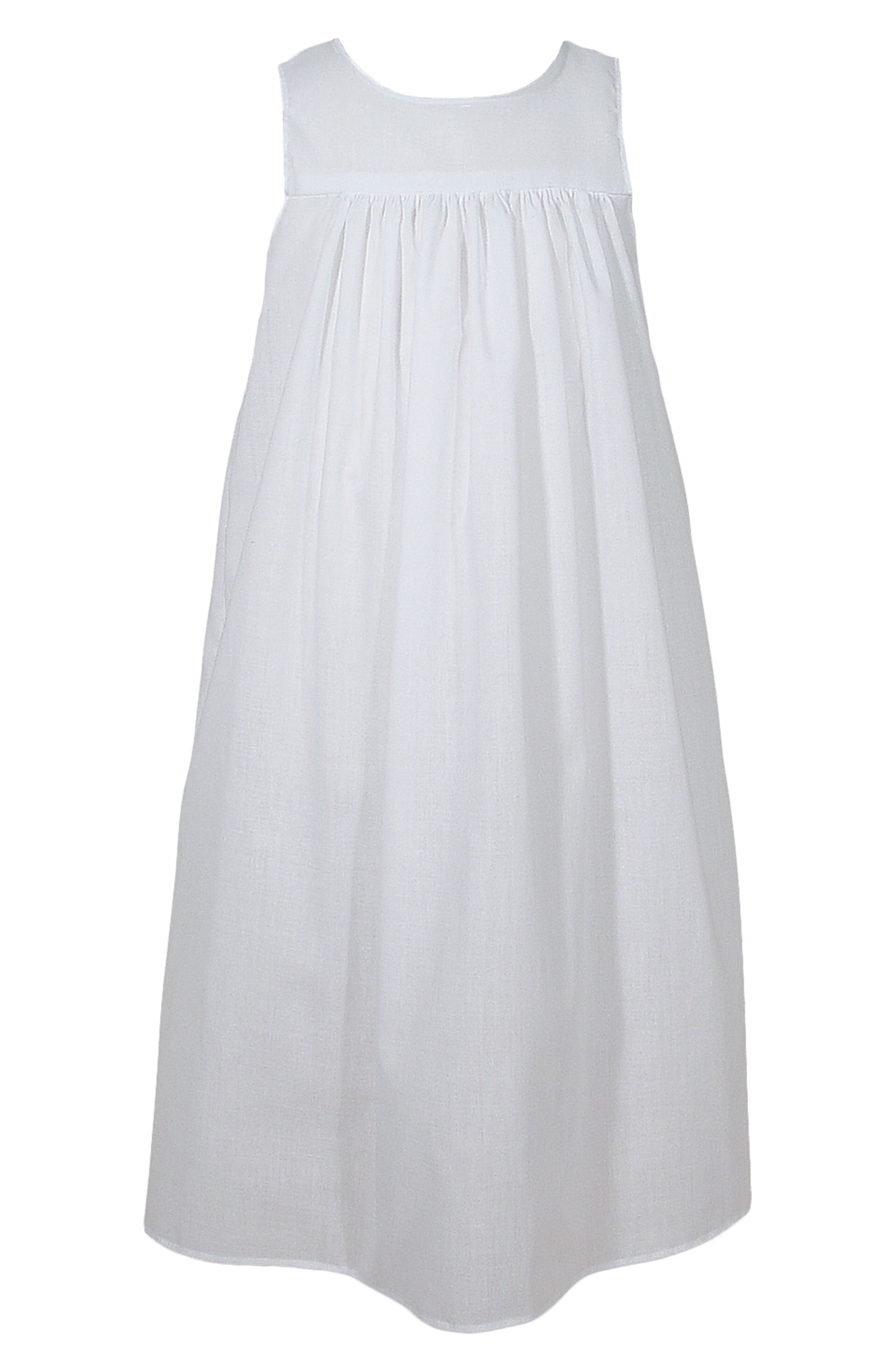 LITTLE THINGS MEAN A LOT Christening Gown Slip, Main, color, WHITE