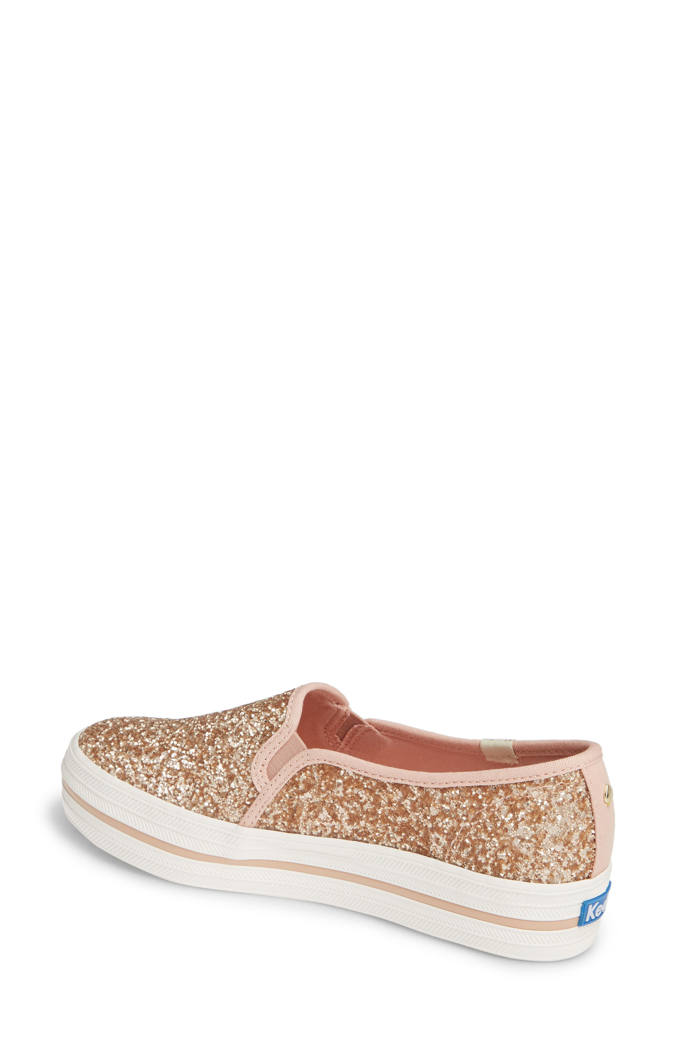 KEDS<SUP>®</SUP> FOR KATE SPADE NEW YORK, triple decker glitter slip-on sneaker, Alternate thumbnail 2, color, ROSE GOLD