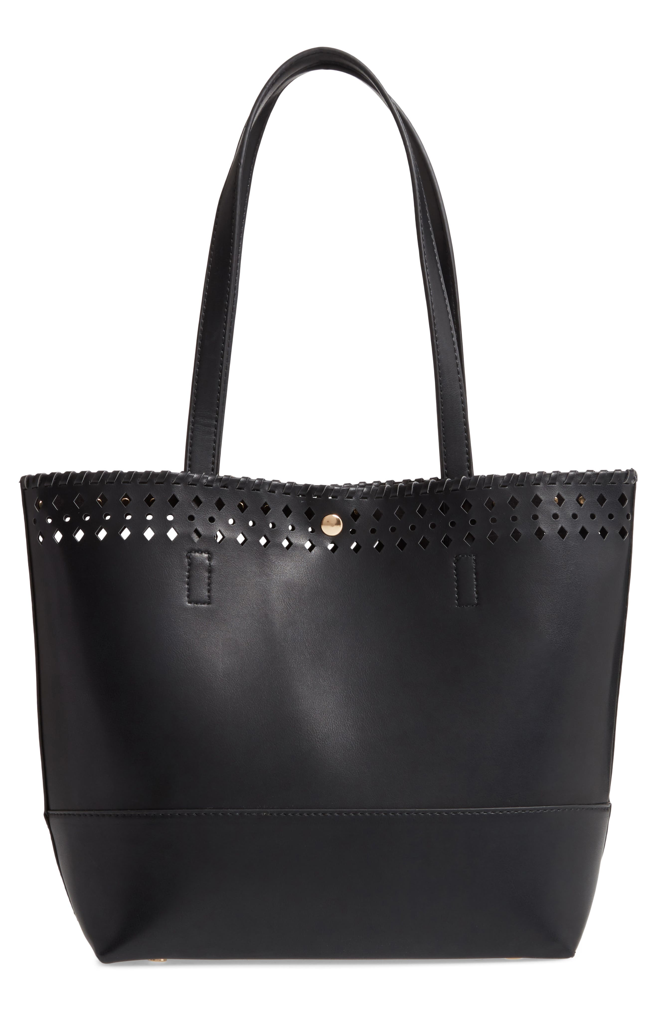 SOLE SOCIETY Ivah Mini Faux Leather Tote, Main, color, BLACK