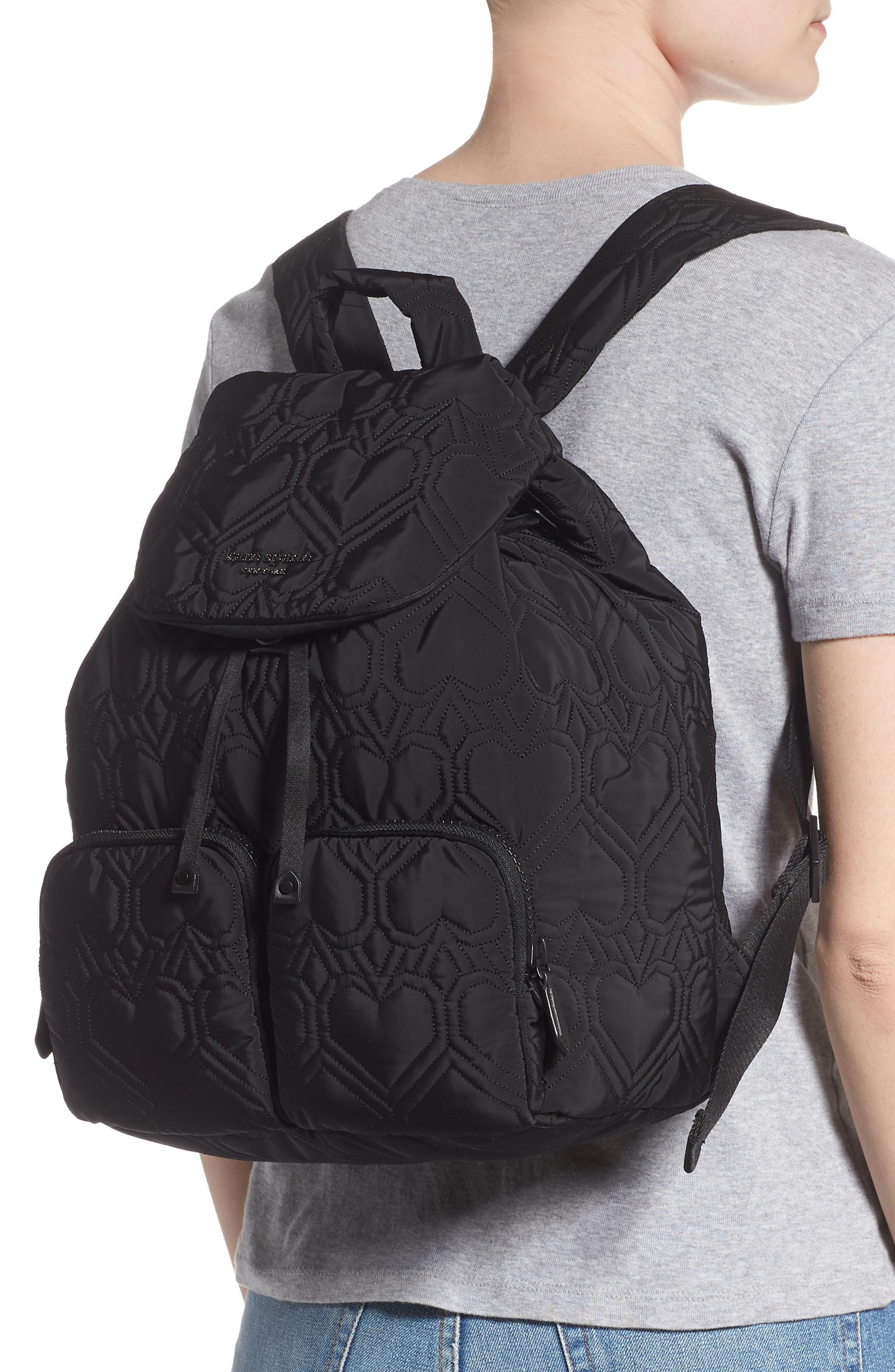 KATE SPADE NEW YORK, large jayne quilted nylon backpack, Alternate thumbnail 2, color, BLACK
