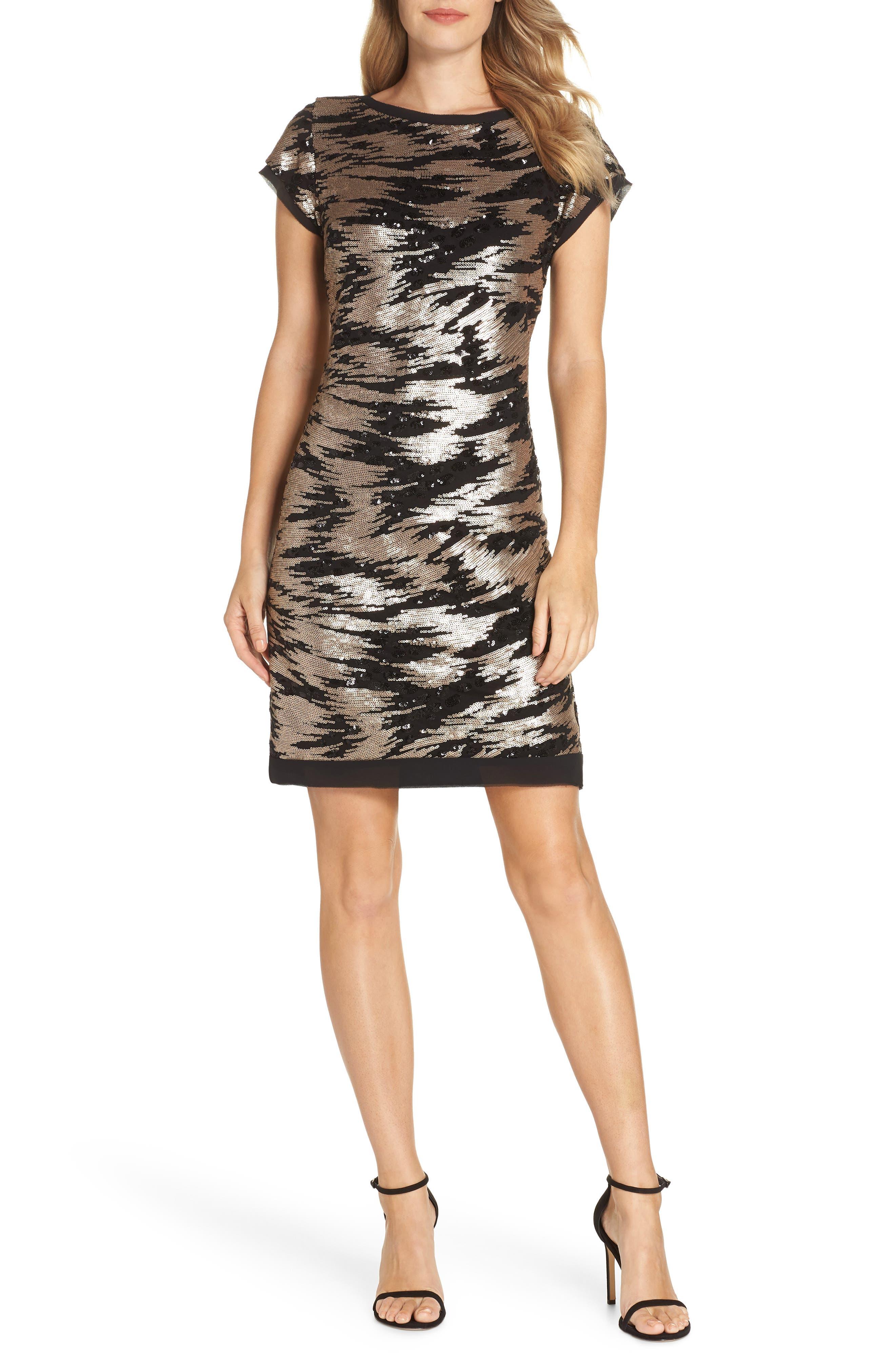 ELIZA J Sequin Sheath Dress, Main, color, BLACK/ GOLD