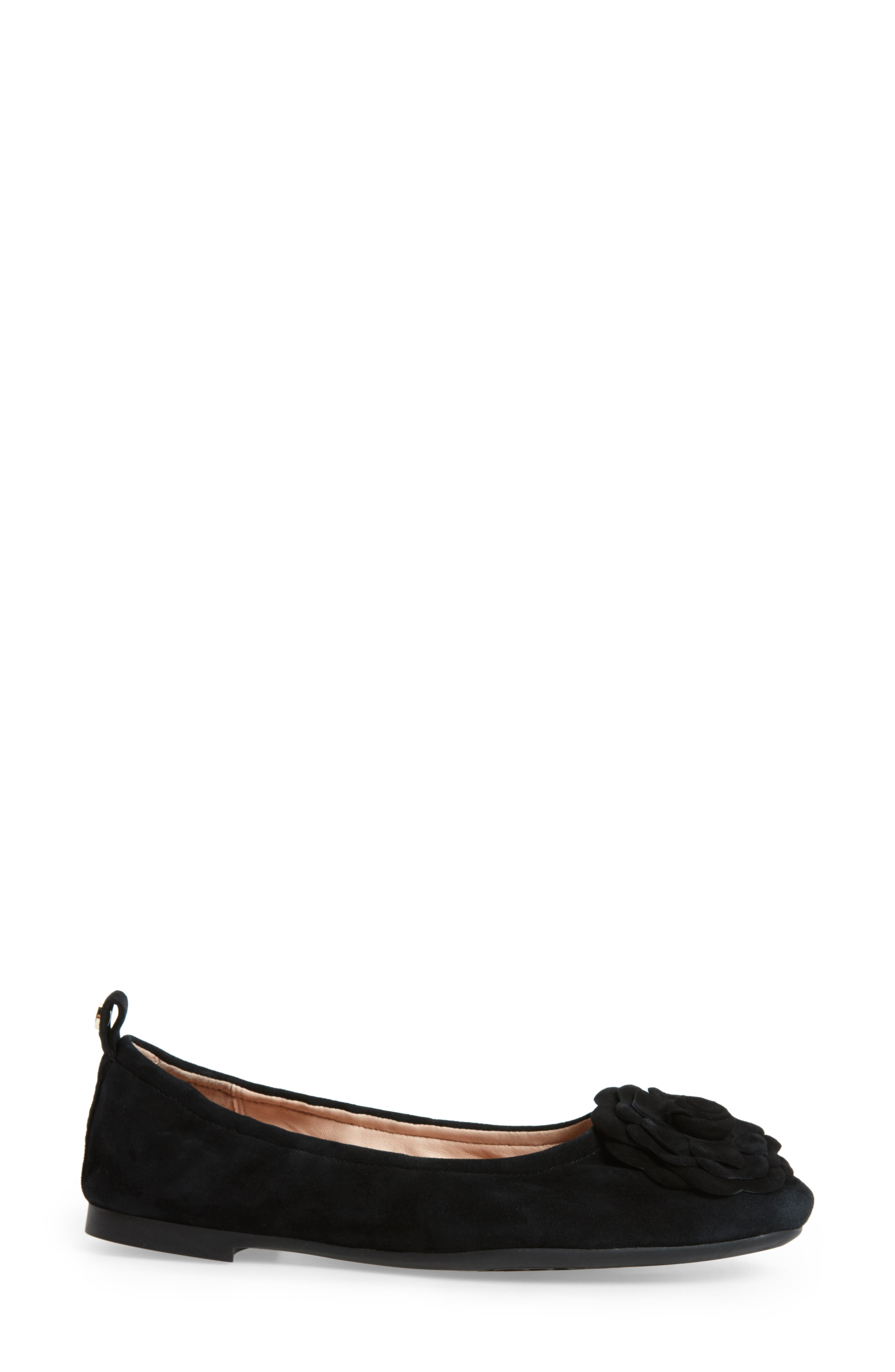 TARYN ROSE, Rosalyn Ballet Flat, Alternate thumbnail 3, color, BLACK SUEDE