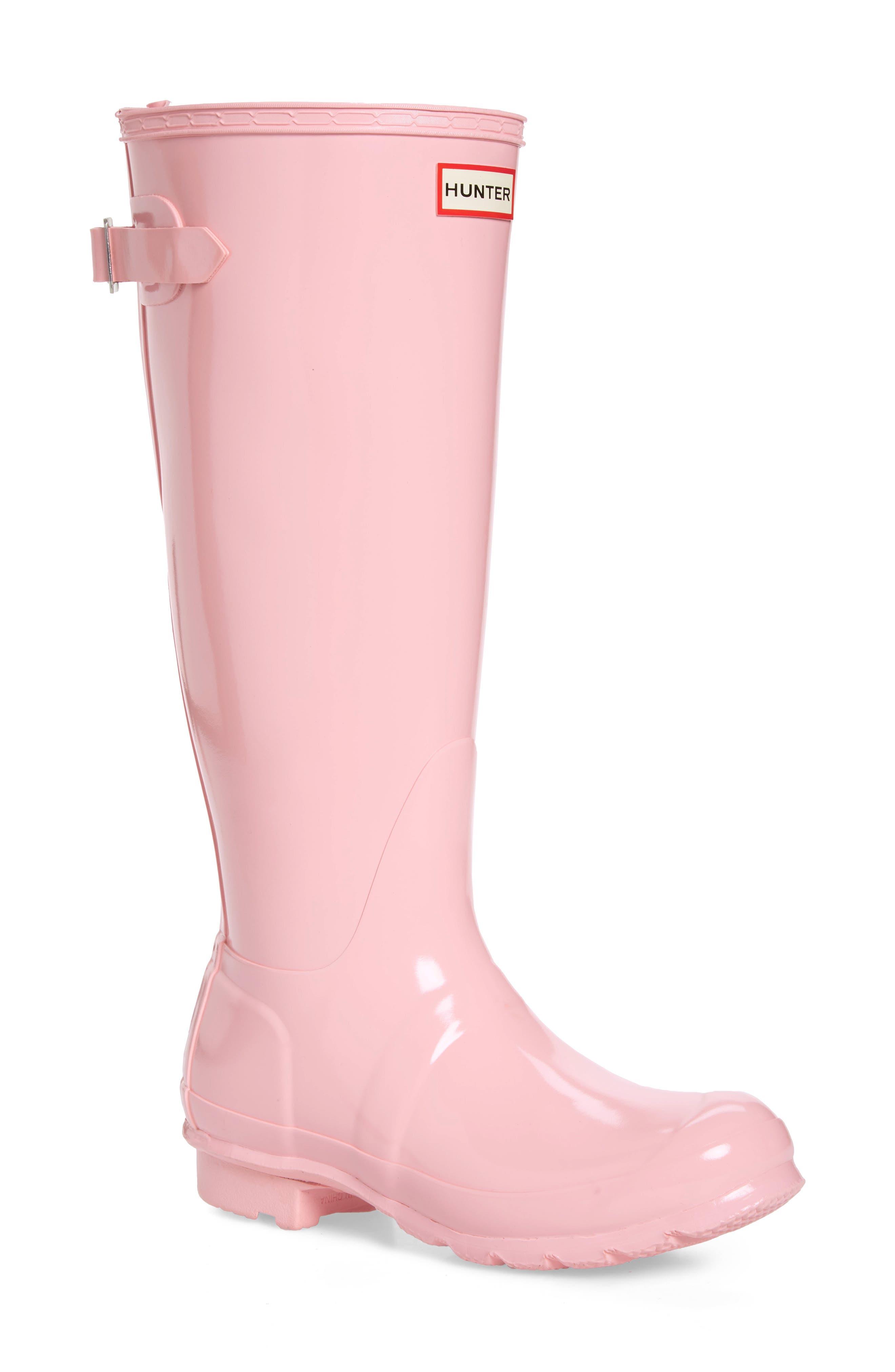 HUNTER, Adjustable Back Gloss Waterproof Rain Boot, Main thumbnail 1, color, CANDY FLOSS RUBBER