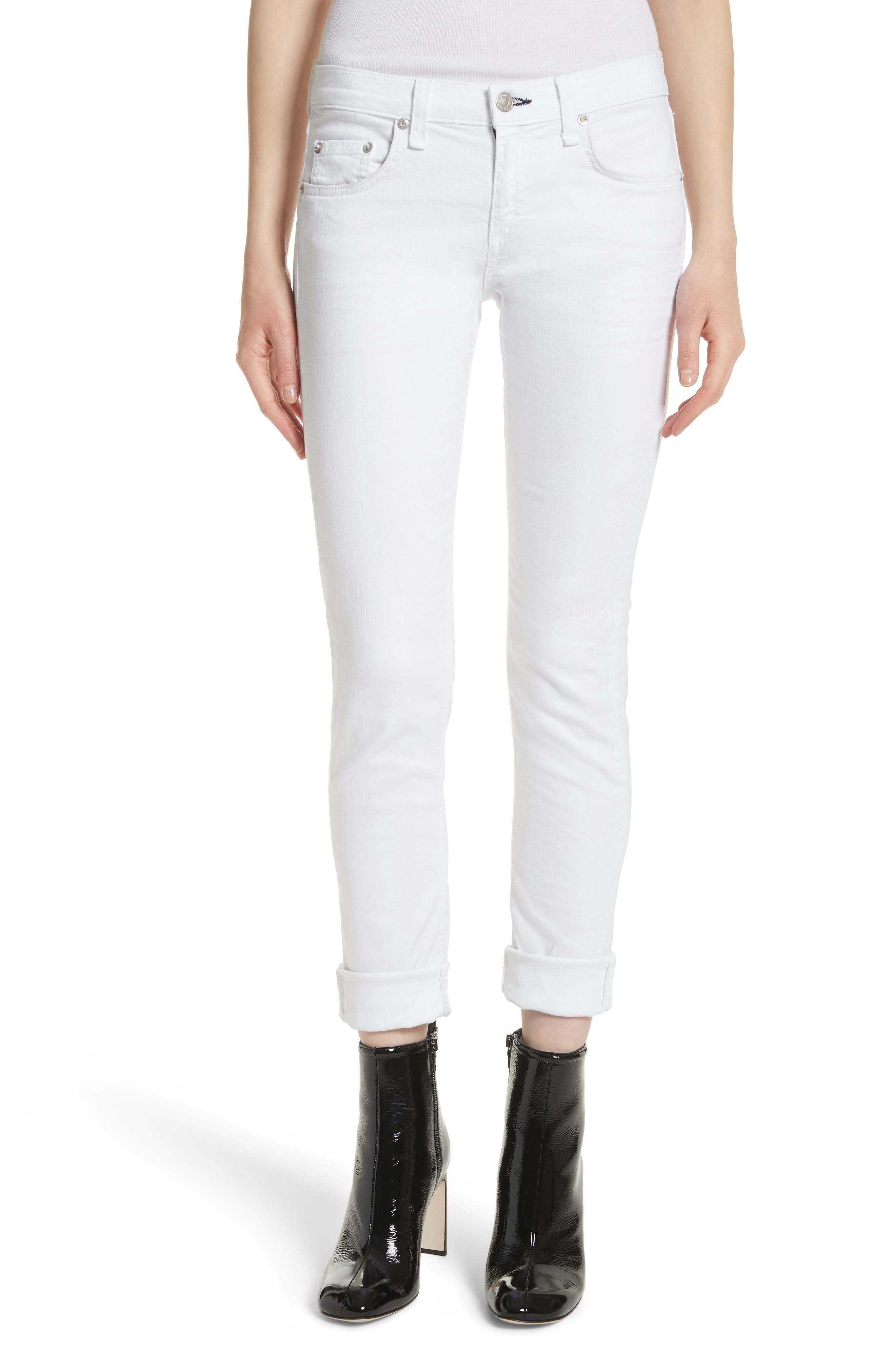 RAG & BONE, 'The Dre' Skinny Jeans, Main thumbnail 1, color, BRIGHT WHITE