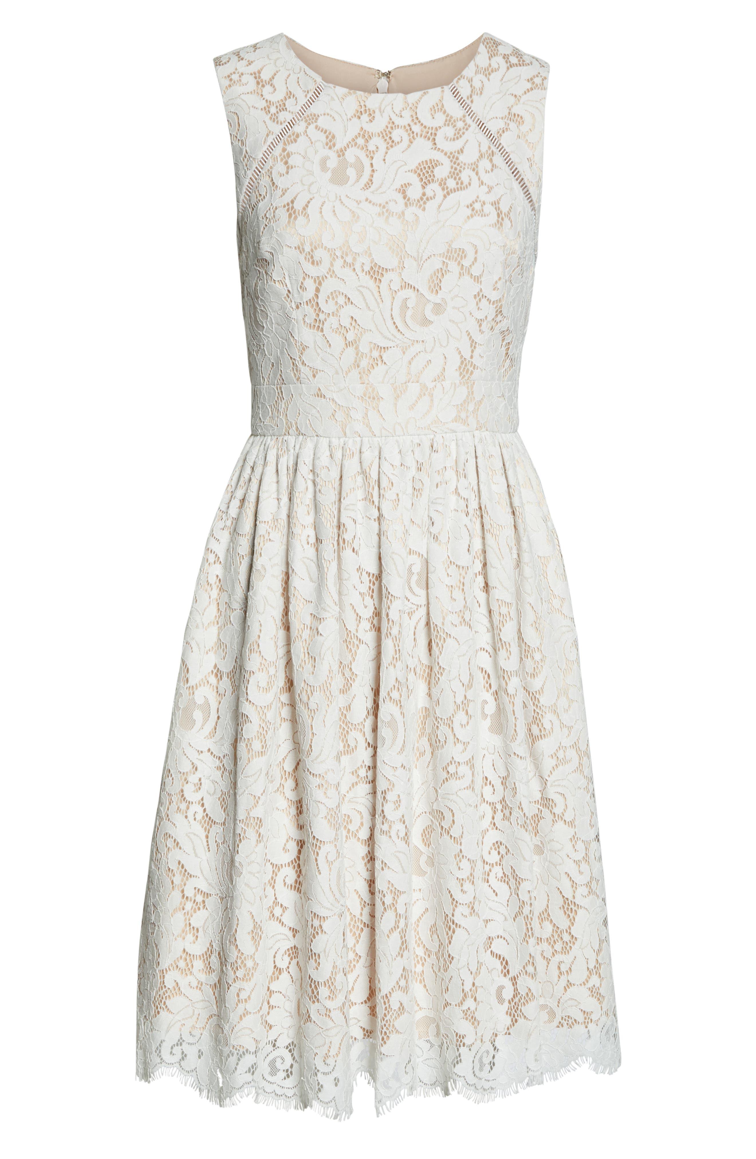 ELIZA J, Lace Fit & Flare Dress, Alternate thumbnail 7, color, IVORY