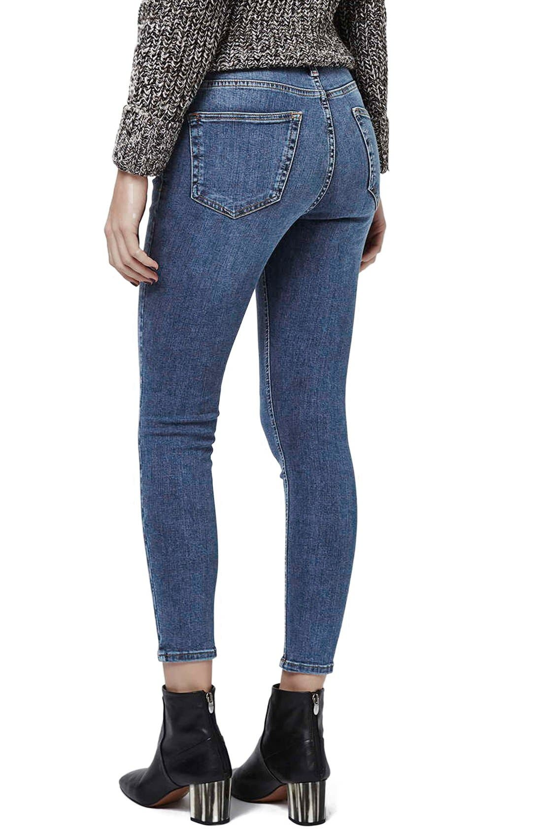 TOPSHOP, 'Jamie' High Rise Ankle Skinny Jeans, Alternate thumbnail 8, color, MID DENIM