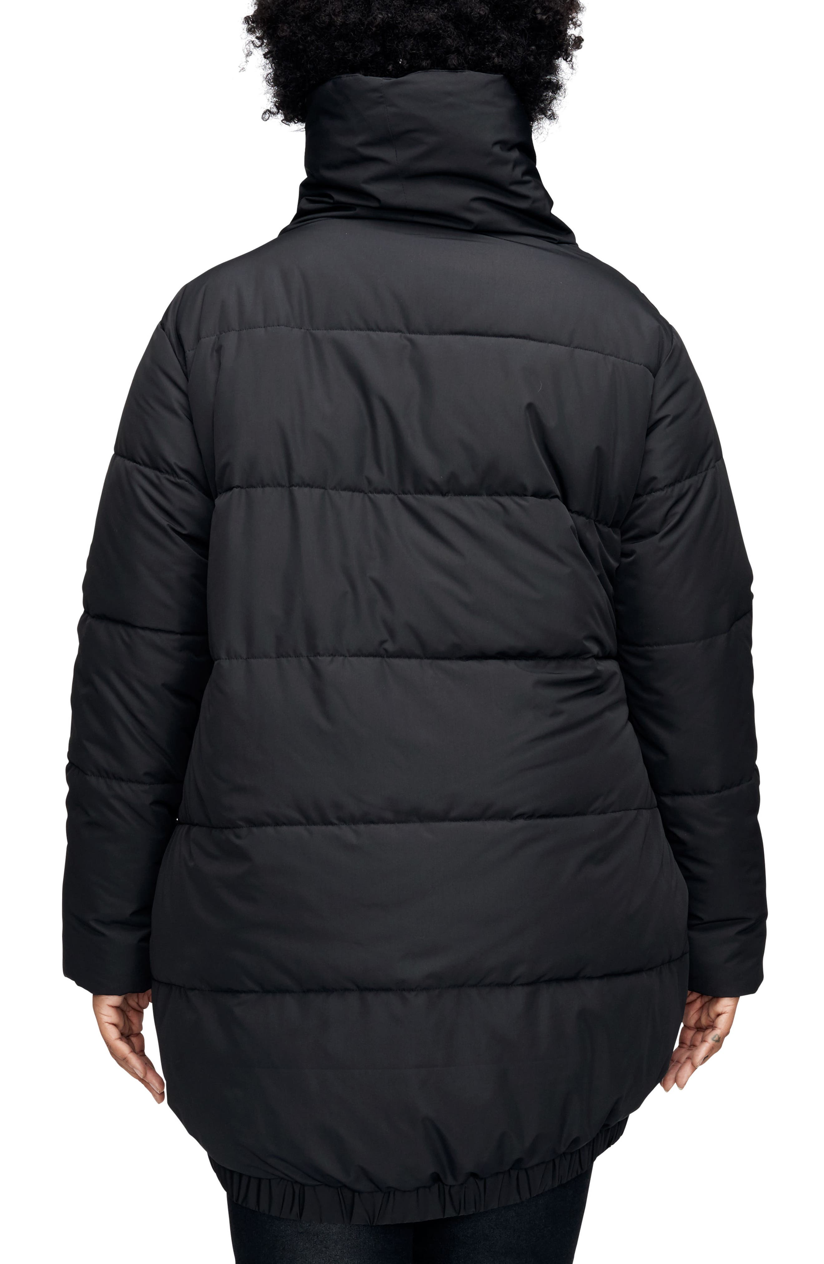 UNIVERSAL STANDARD, Kanda Puffer Coat, Alternate thumbnail 2, color, BLACK