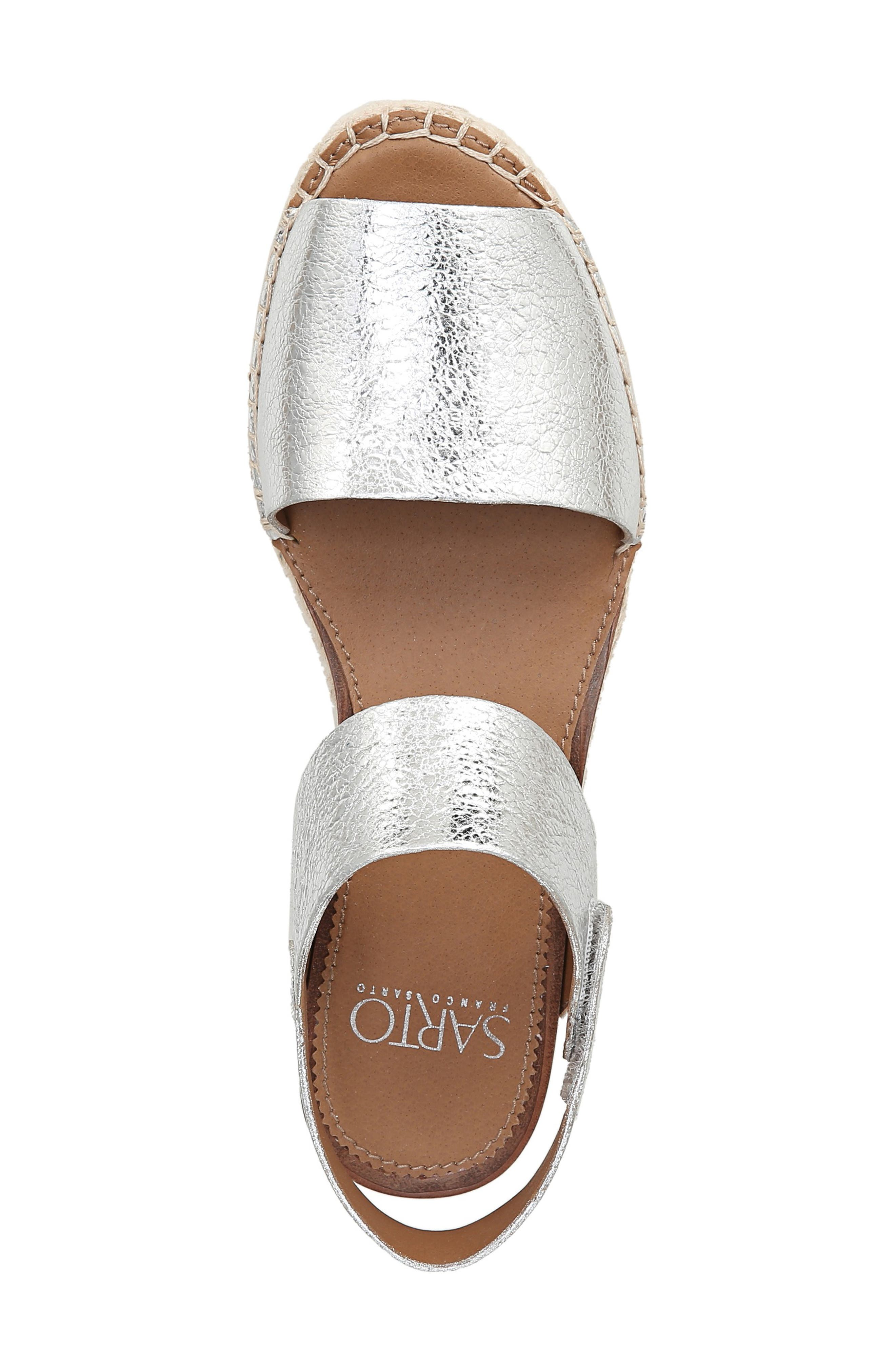 SARTO BY FRANCO SARTO, Leo Platform Espadrille Sandal, Alternate thumbnail 5, color, SILVER LEATHER