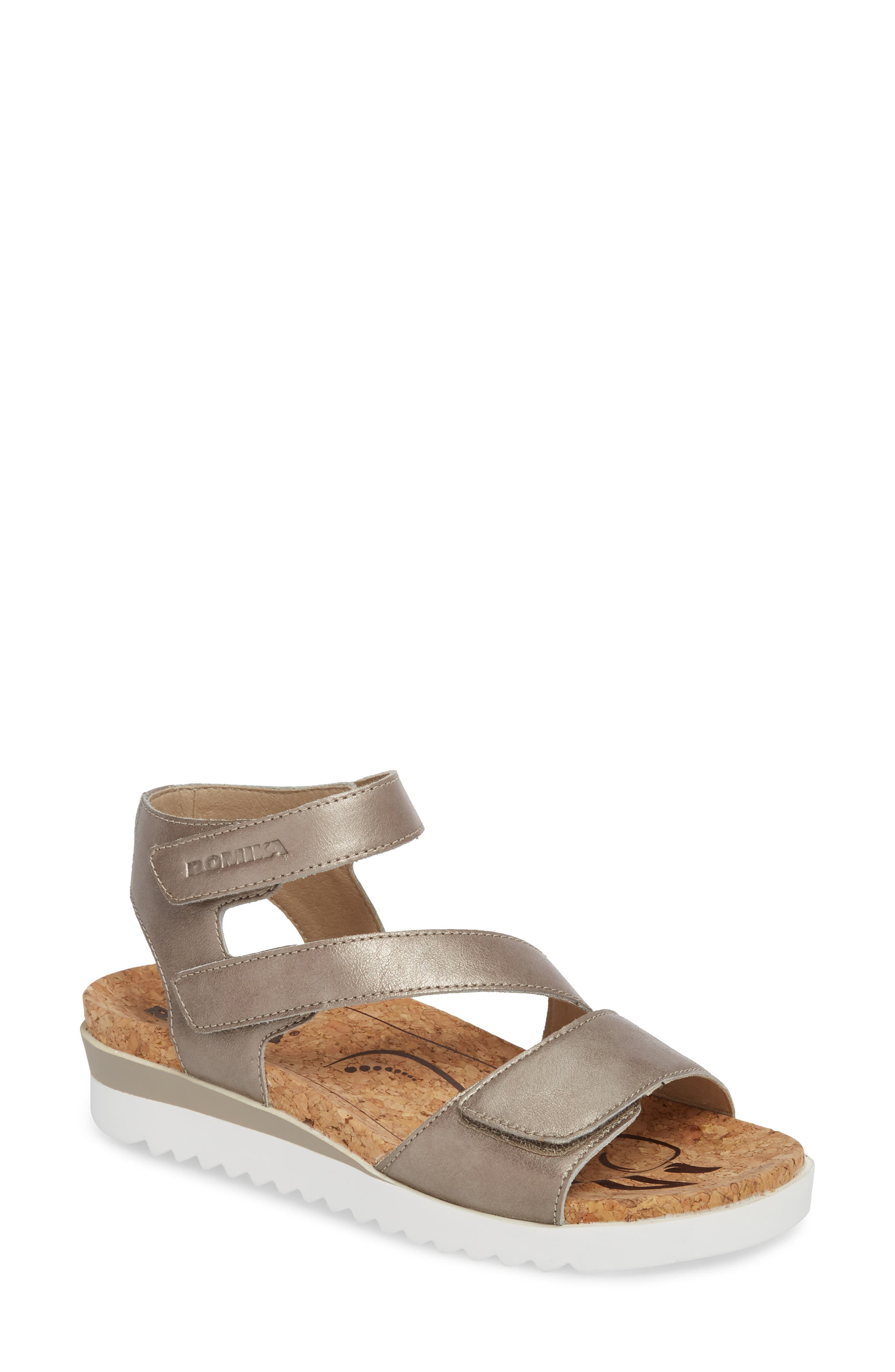 ROMIKA<SUP>®</SUP> Hollywood 04 Sandal, Main, color, PLATINUM LEATHER