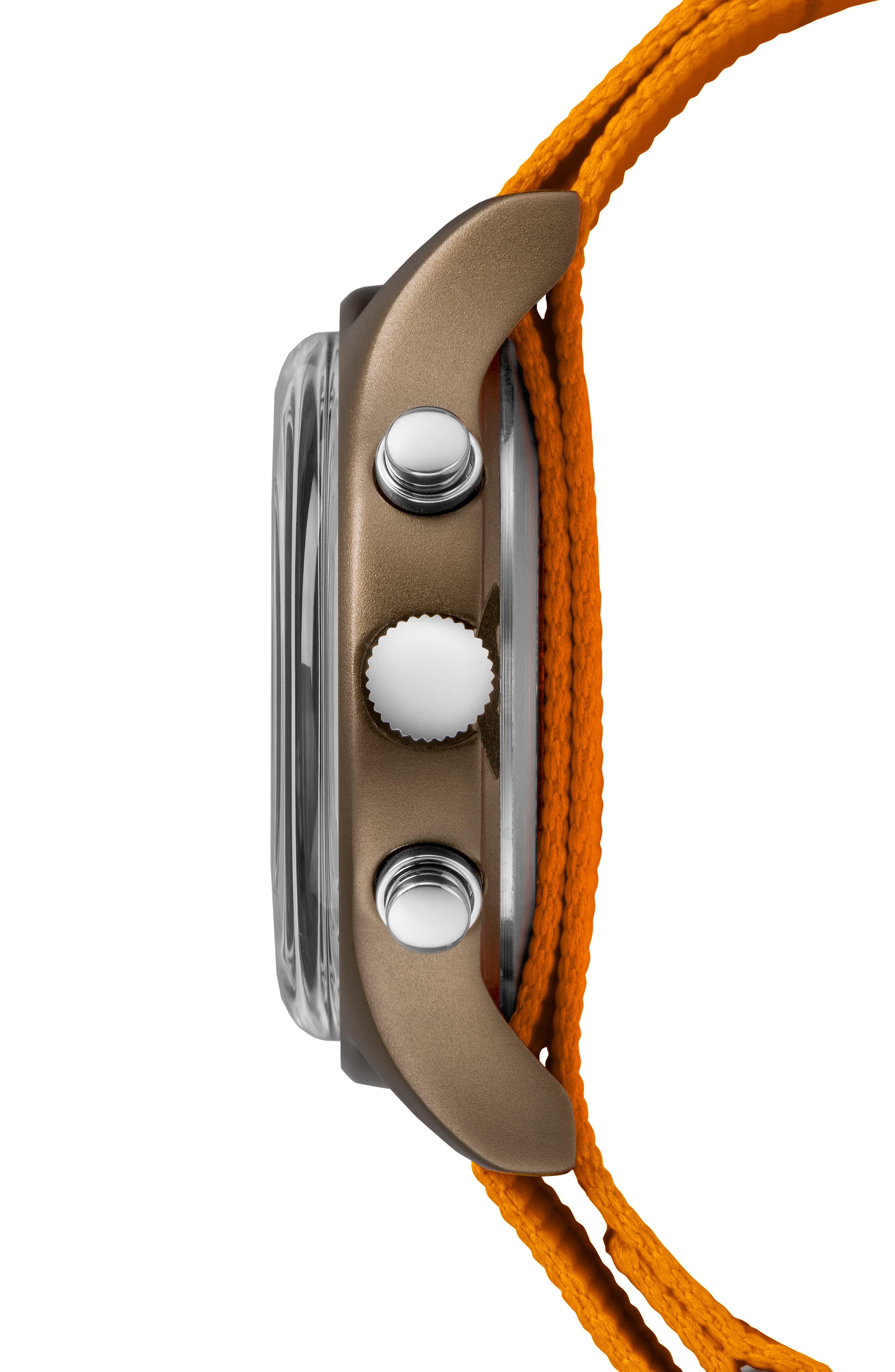 TIMEX<SUP>®</SUP>, MK1 Chronograph Nylon Strap Watch, 40mm, Alternate thumbnail 3, color, ORANGE/ BLACK/ OLIVE