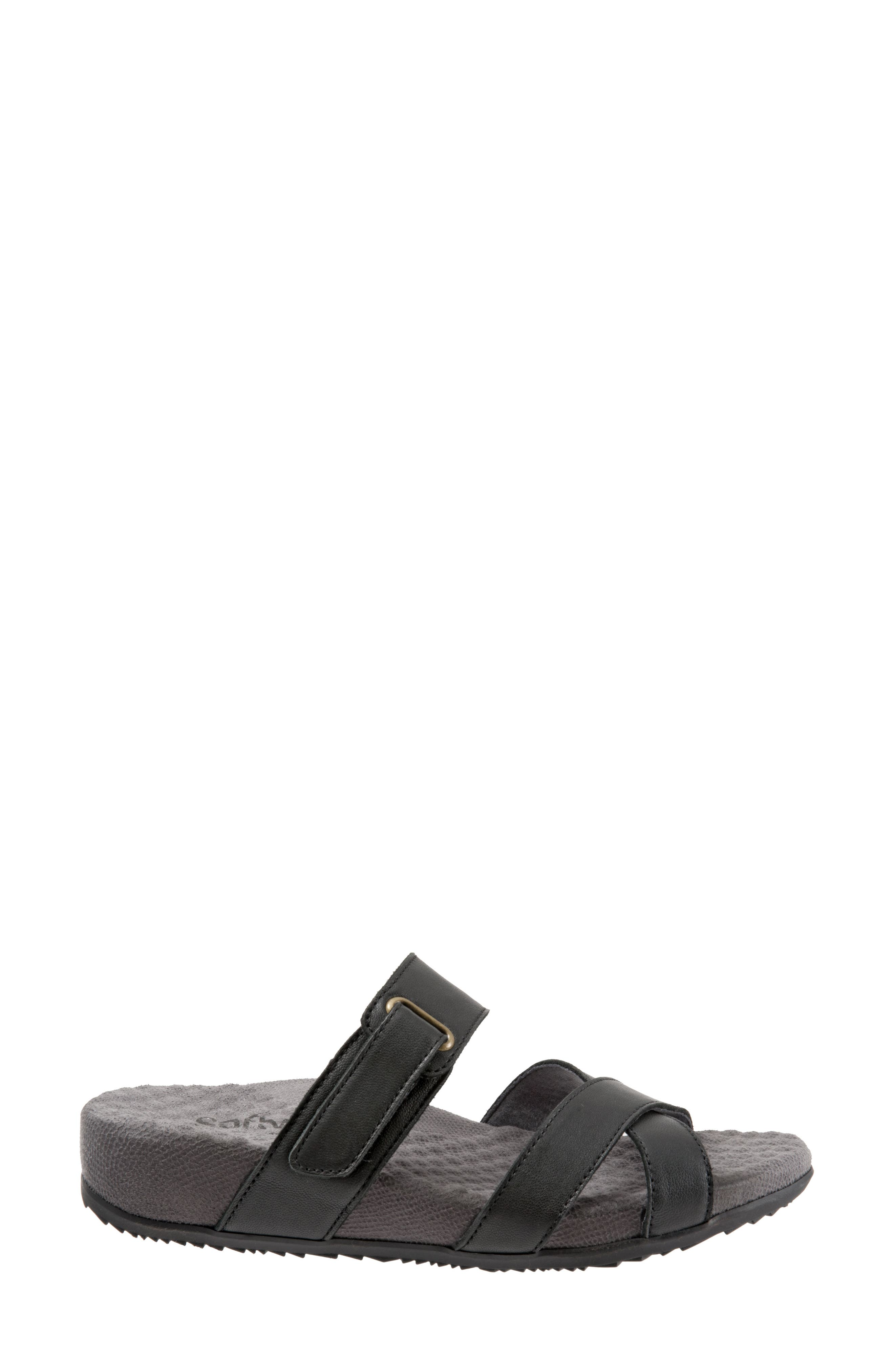 SOFTWALK<SUP>®</SUP>, Brimley Sandal, Alternate thumbnail 3, color, BLACK LEATHER