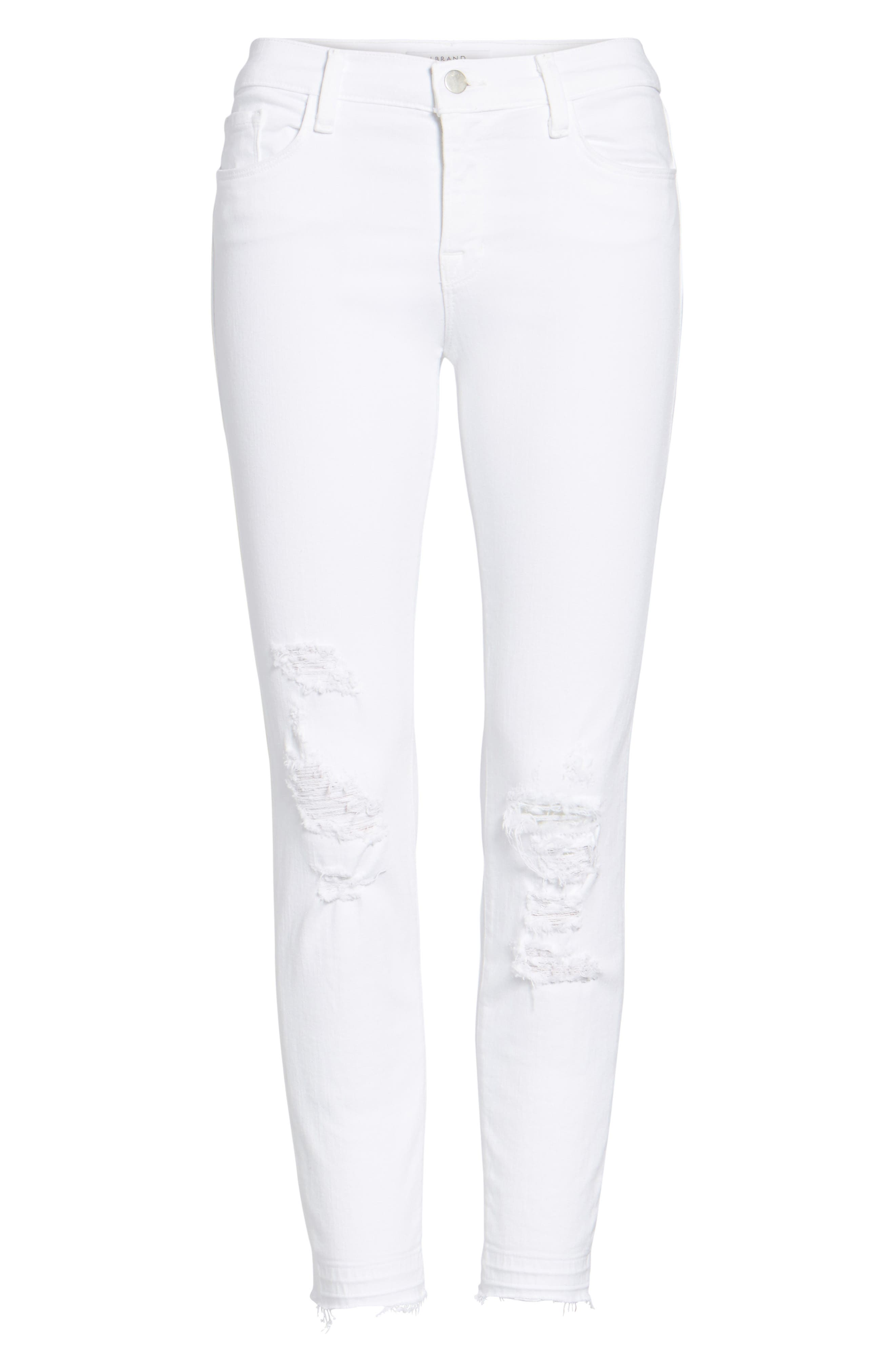 J BRAND, 9326 Low Rise Crop Skinny Jeans, Alternate thumbnail 6, color, DEMENTED WHITE DESTRUCTED