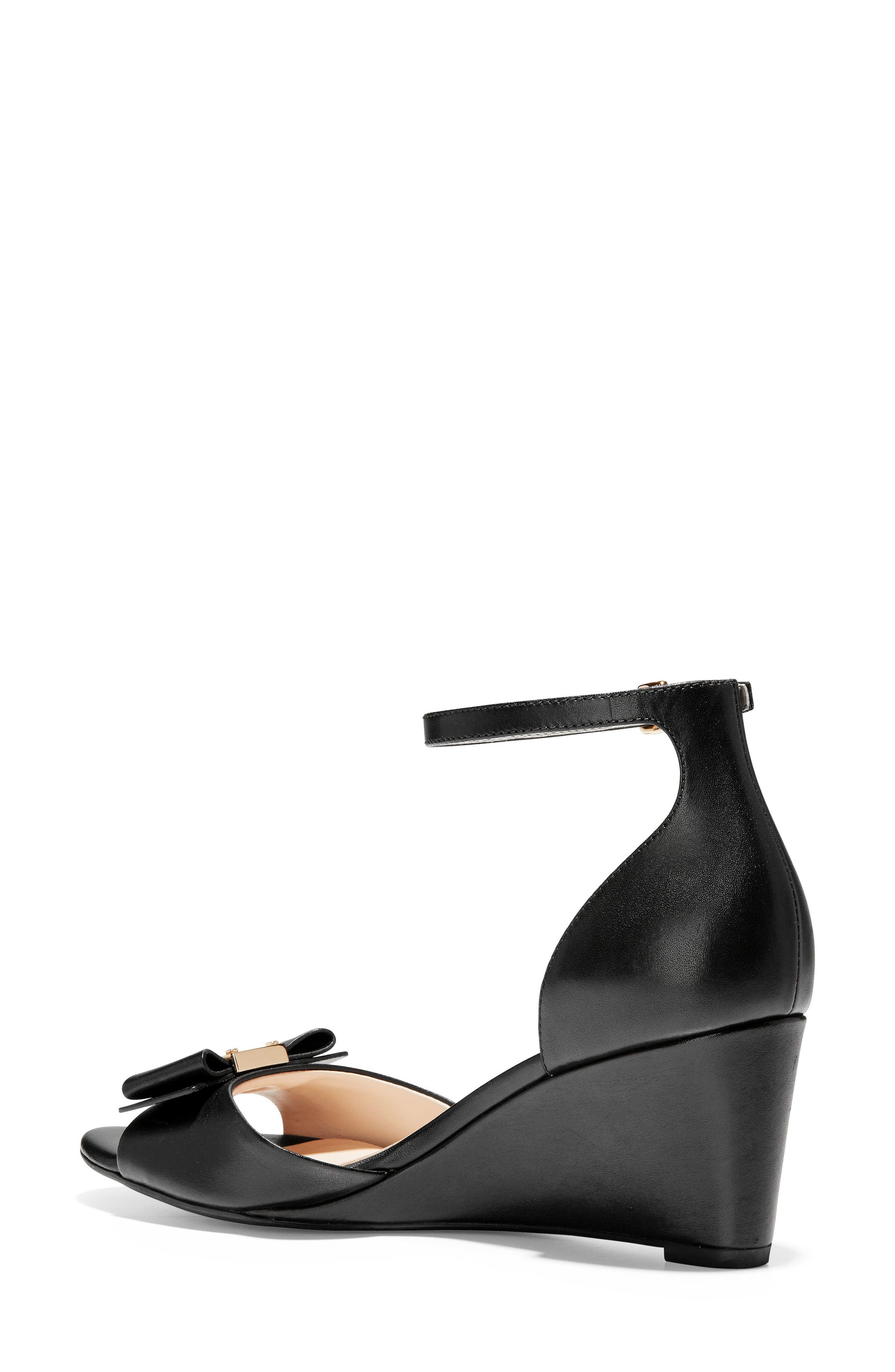 COLE HAAN, Tali Bow Wedge Sandal, Alternate thumbnail 2, color, BLACK LEATHER